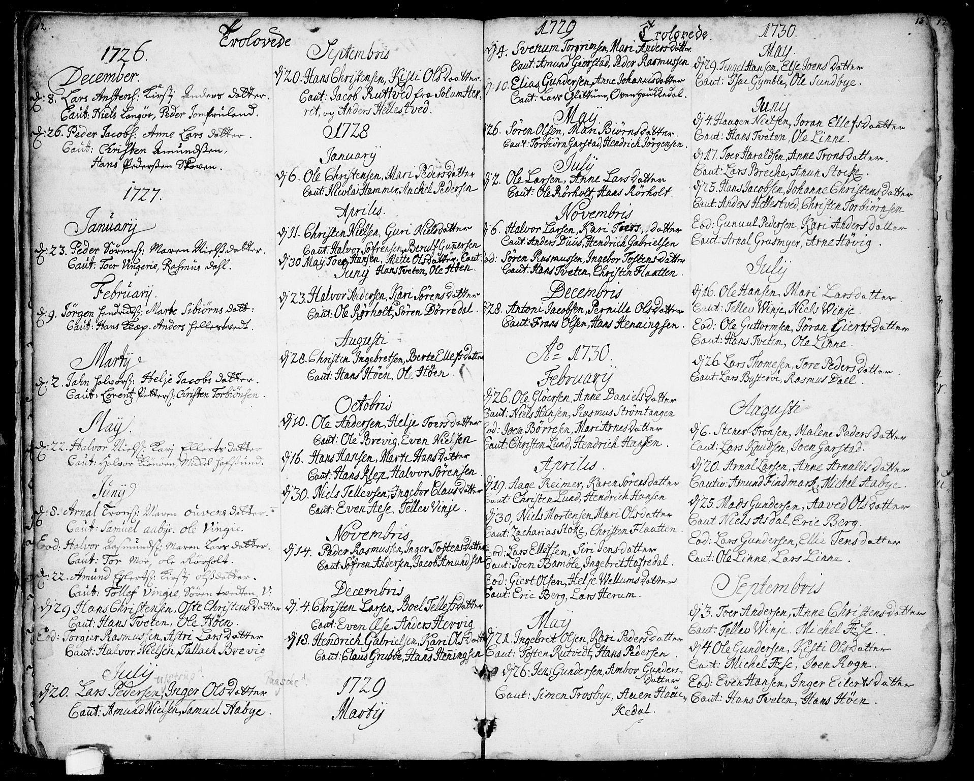 SAKO, Bamble kirkebøker, F/Fa/L0001: Ministerialbok nr. I 1, 1702-1774, s. 12-13