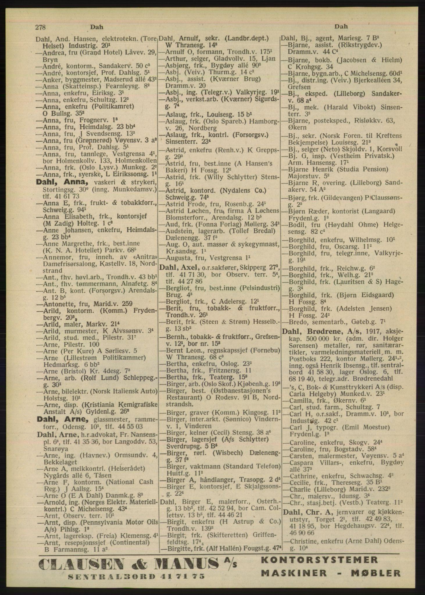 RA, Oslo adressebok (publikasjon)*, 1948, s. 278