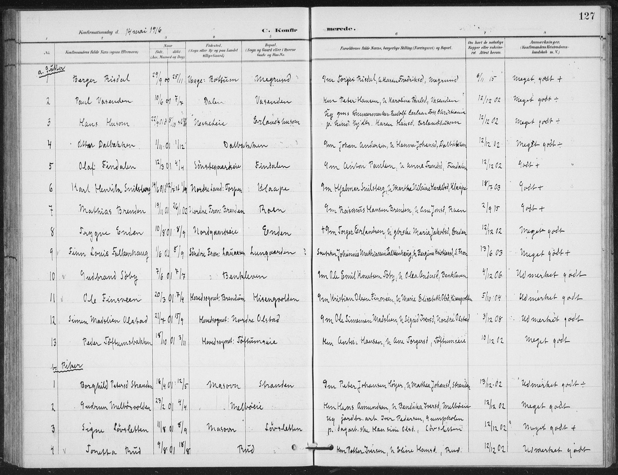 SAH, Vestre Gausdal prestekontor, Klokkerbok nr. 4, 1898-1939, s. 127
