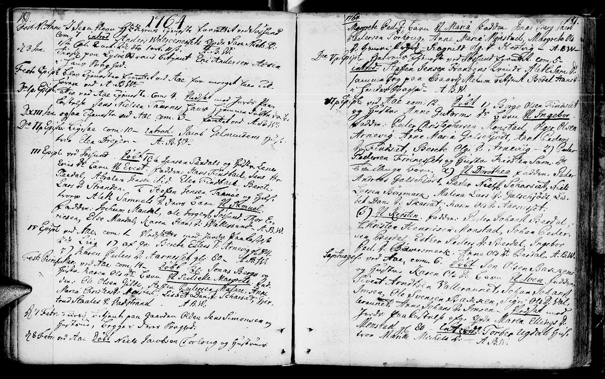 SAT, Ministerialprotokoller, klokkerbøker og fødselsregistre - Sør-Trøndelag, 655/L0672: Ministerialbok nr. 655A01, 1750-1779, s. 180-181