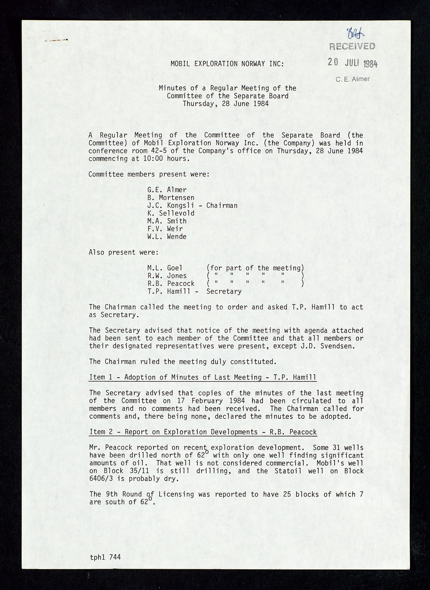 SAST, Pa 1578 - Mobil Exploration Norway Incorporated, D/Da/L0168: Sak og korrespondanse og styremøter, 1973-1986, s. 197
