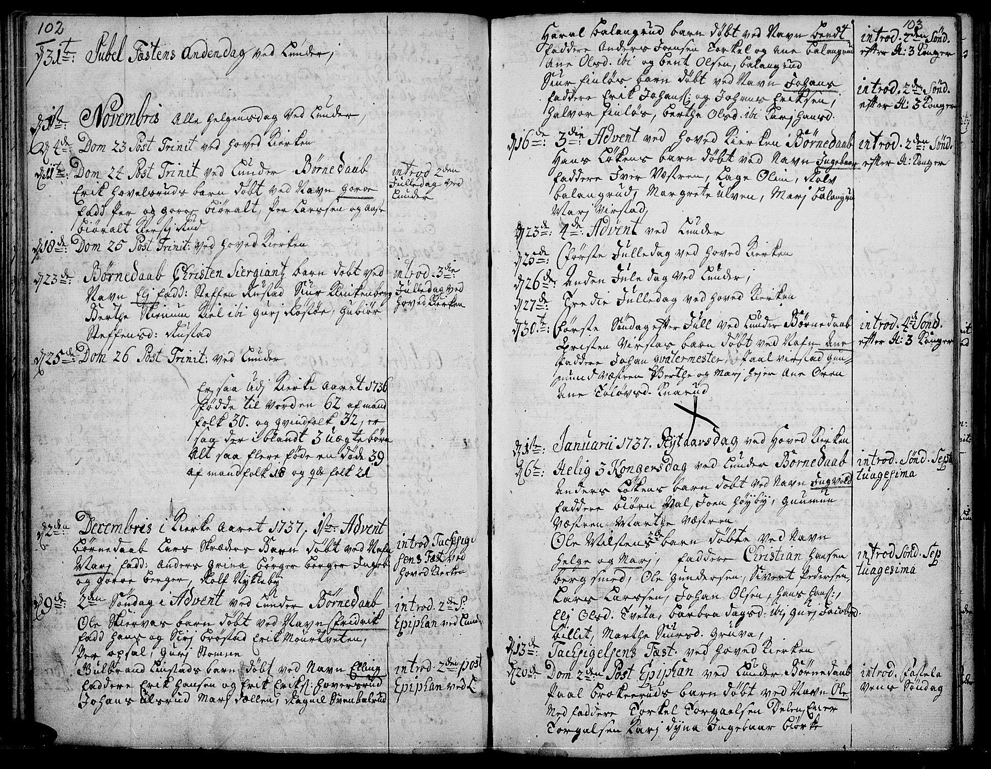 SAH, Jevnaker prestekontor, Ministerialbok nr. 2, 1725-1751, s. 102-103