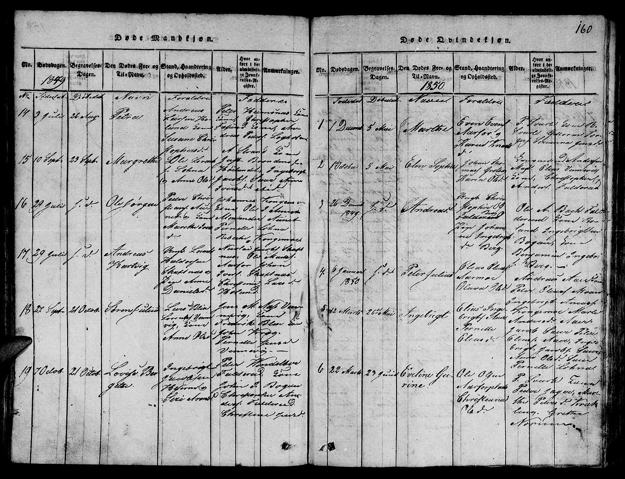 SAT, Ministerialprotokoller, klokkerbøker og fødselsregistre - Nord-Trøndelag, 780/L0648: Klokkerbok nr. 780C01 /3, 1815-1877, s. 160