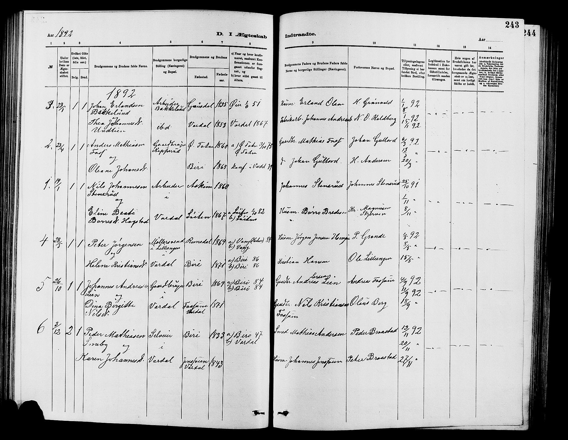 SAH, Vardal prestekontor, H/Ha/Hab/L0007: Klokkerbok nr. 7 /1, 1881-1895, s. 243