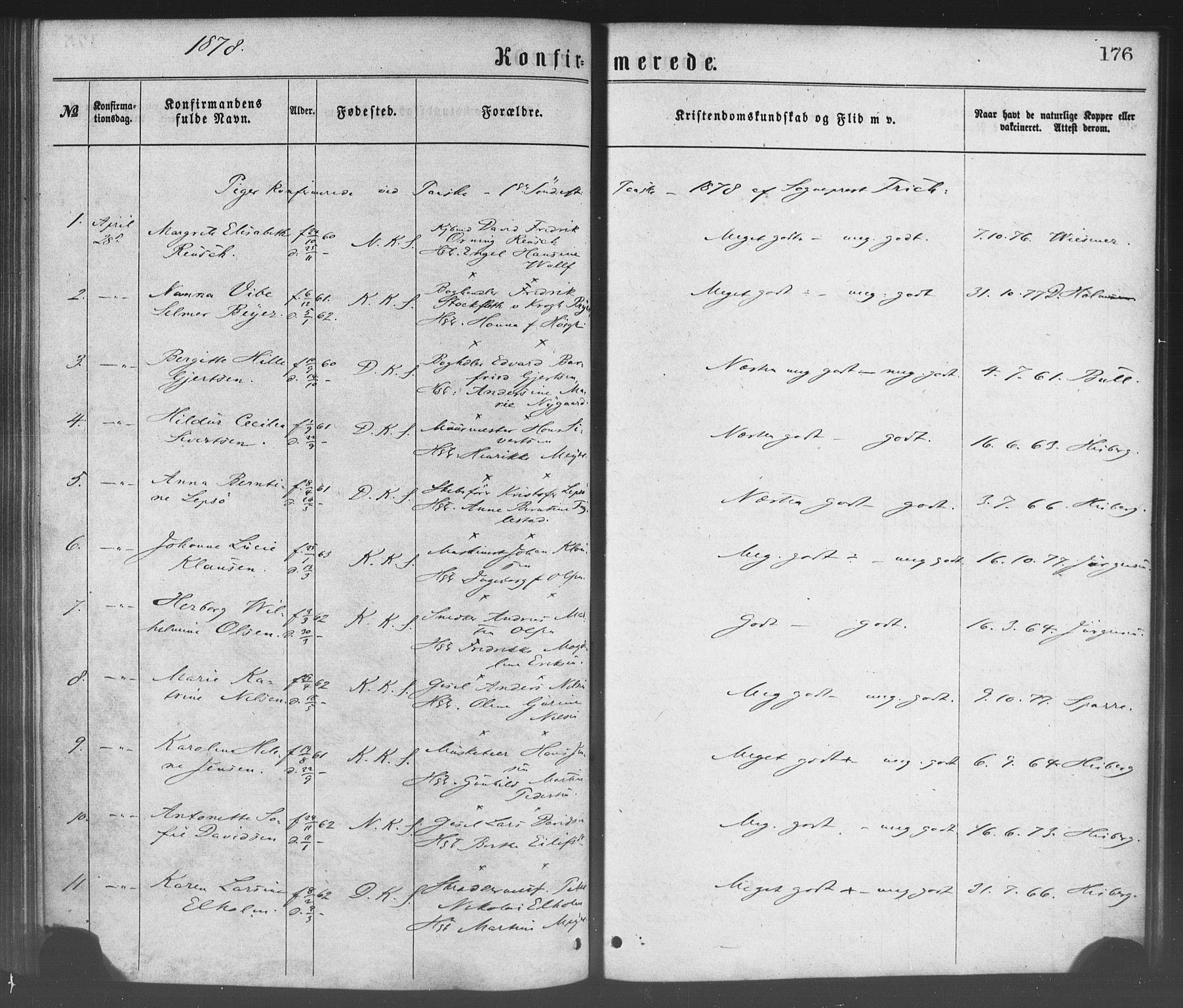 SAB, Korskirken Sokneprestembete, H/Haa/L0028: Ministerialbok nr. C 4, 1868-1879, s. 176