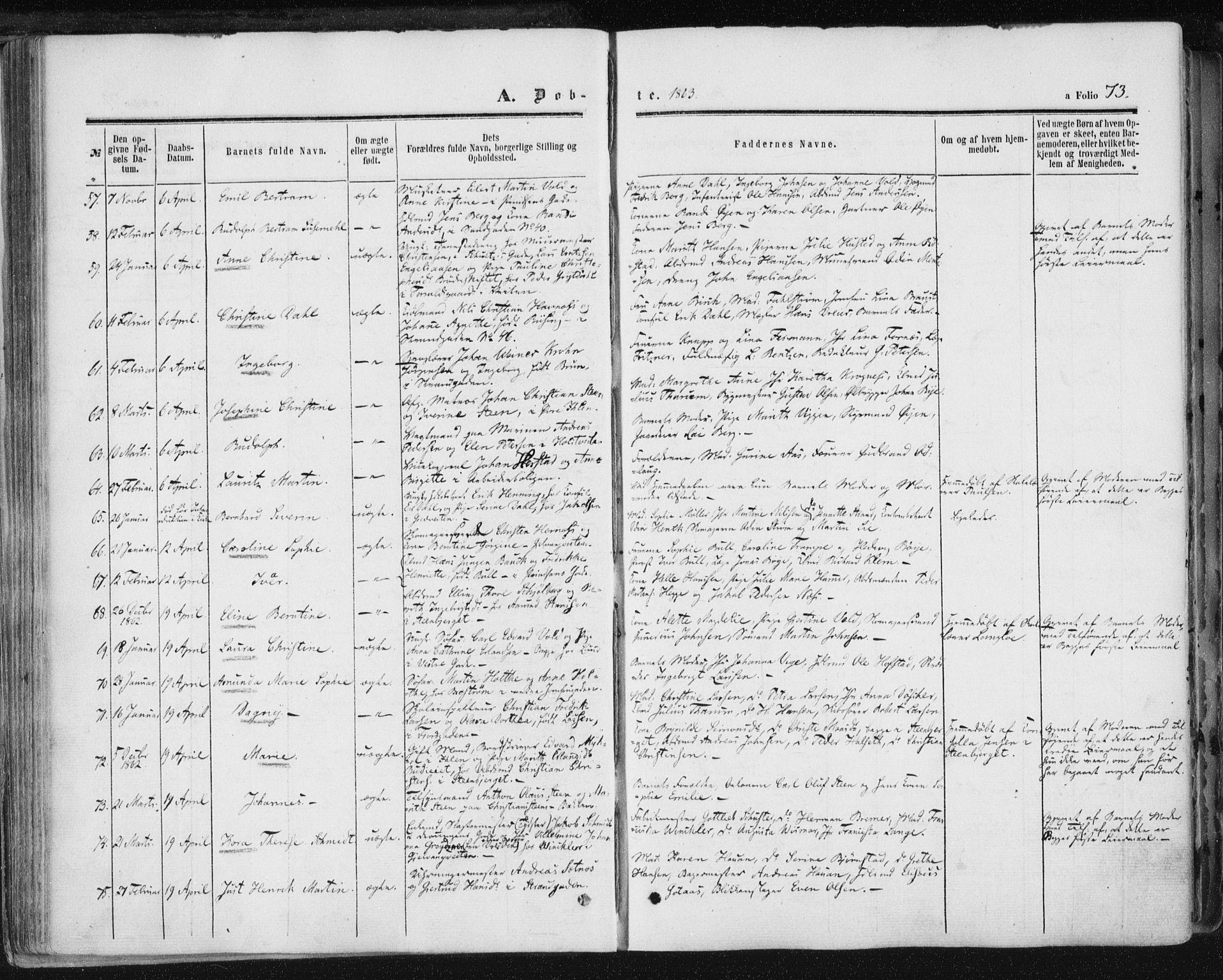SAT, Ministerialprotokoller, klokkerbøker og fødselsregistre - Sør-Trøndelag, 602/L0115: Ministerialbok nr. 602A13, 1860-1872, s. 73