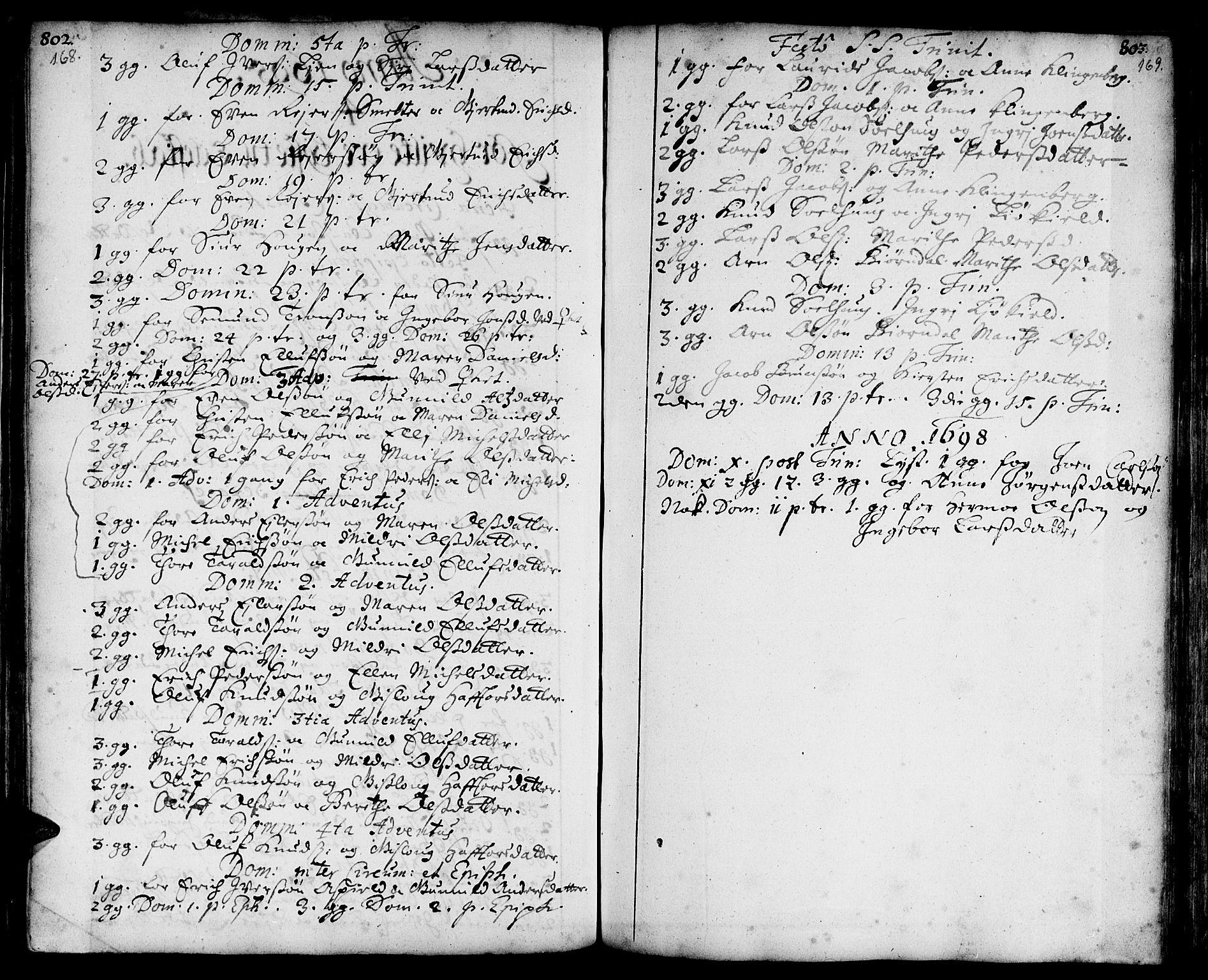 SAT, Ministerialprotokoller, klokkerbøker og fødselsregistre - Sør-Trøndelag, 668/L0801: Ministerialbok nr. 668A01, 1695-1716, s. 168-169