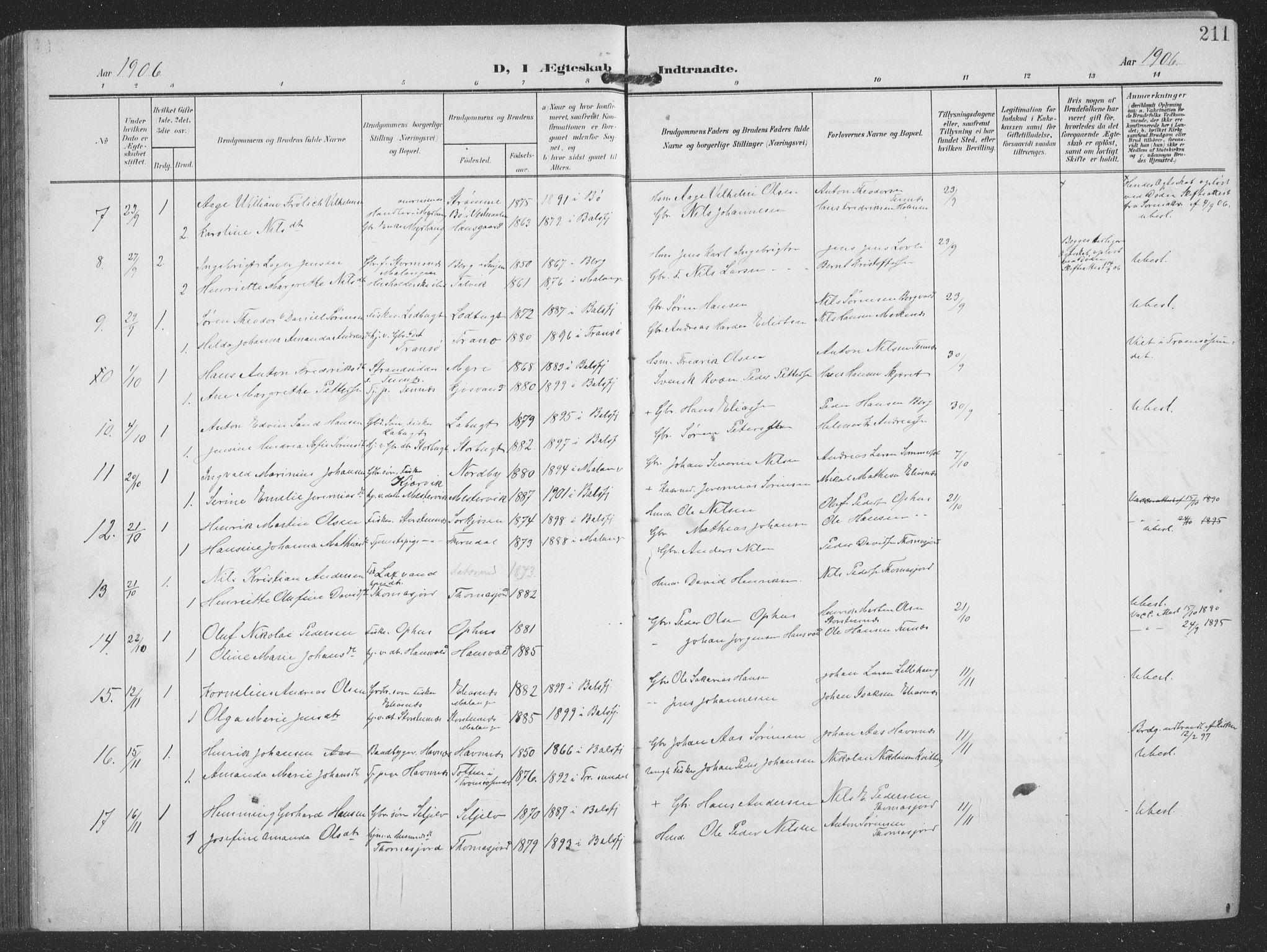 SATØ, Balsfjord sokneprestembete, G/Ga/L0009klokker: Klokkerbok nr. 9, 1906-1920, s. 211