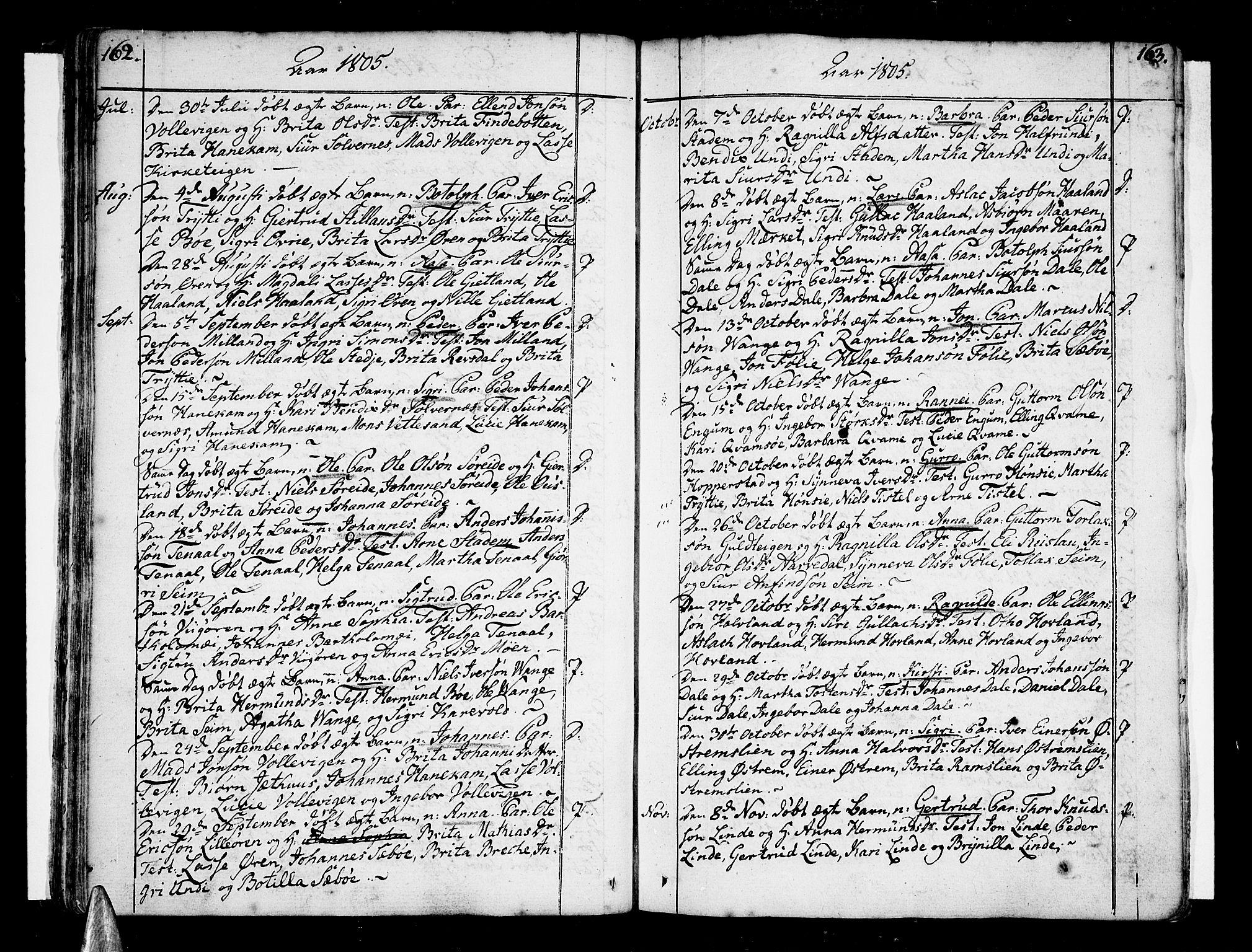 SAB, Vik Sokneprestembete, Ministerialbok nr. A 5, 1787-1820, s. 162-163