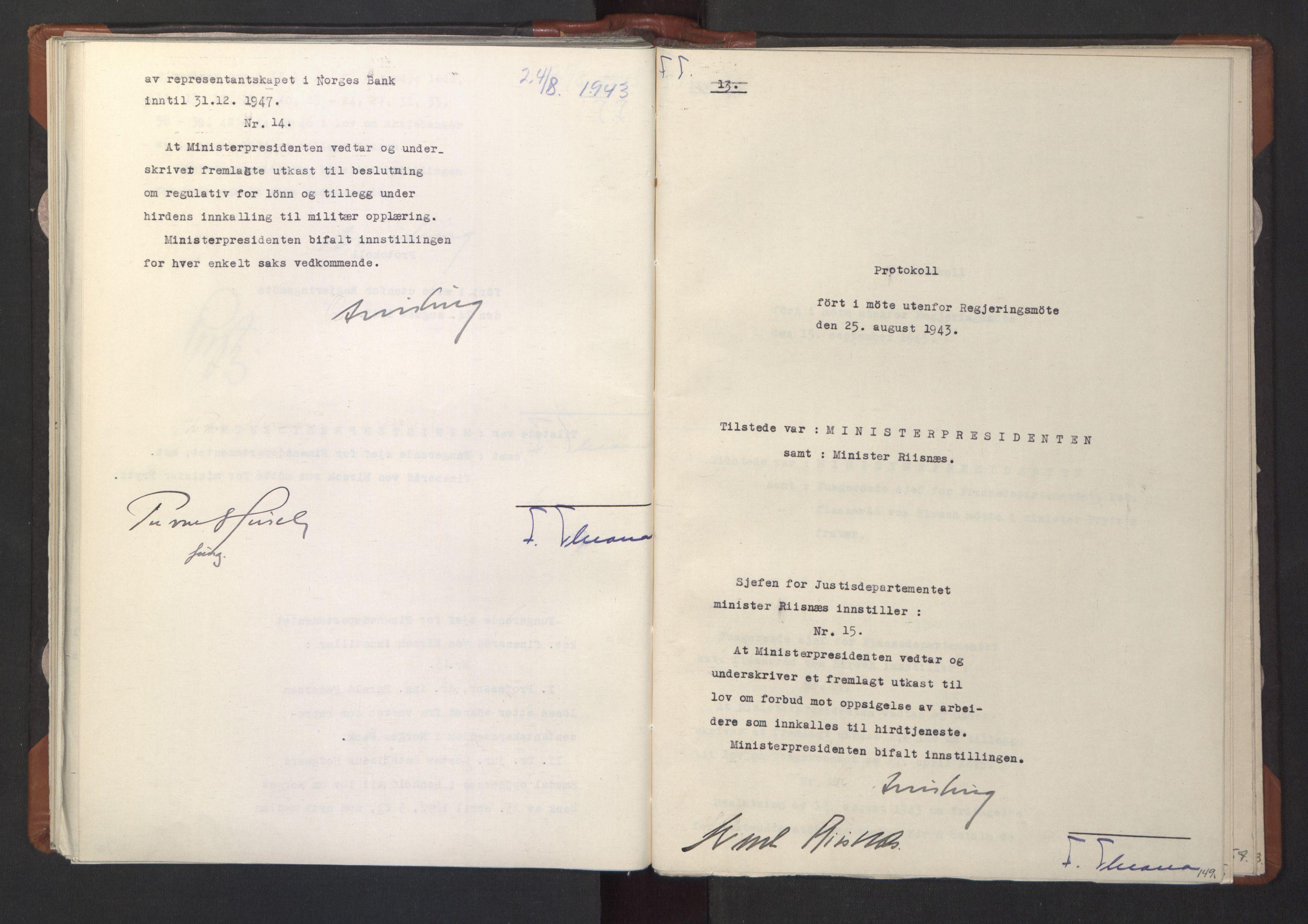 RA, NS-administrasjonen 1940-1945 (Statsrådsekretariatet, de kommisariske statsråder mm), D/Da/L0003: Vedtak (Beslutninger) nr. 1-746 og tillegg nr. 1-47 (RA. j.nr. 1394/1944, tilgangsnr. 8/1944, 1943, s. 148b-149a