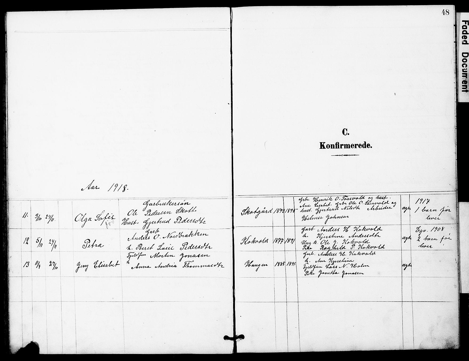 SAT, Ministerialprotokoller, klokkerbøker og fødselsregistre - Sør-Trøndelag, 683/L0950: Klokkerbok nr. 683C02, 1897-1918, s. 48