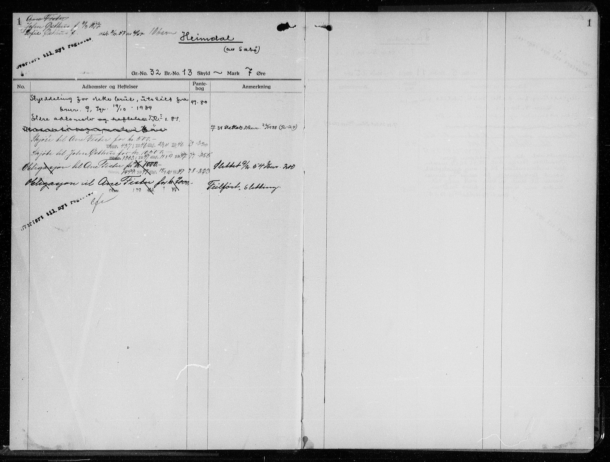 SAST, Ryfylke tingrett, II/IIA/L0018: Panteregister nr. II A 18, s. 1