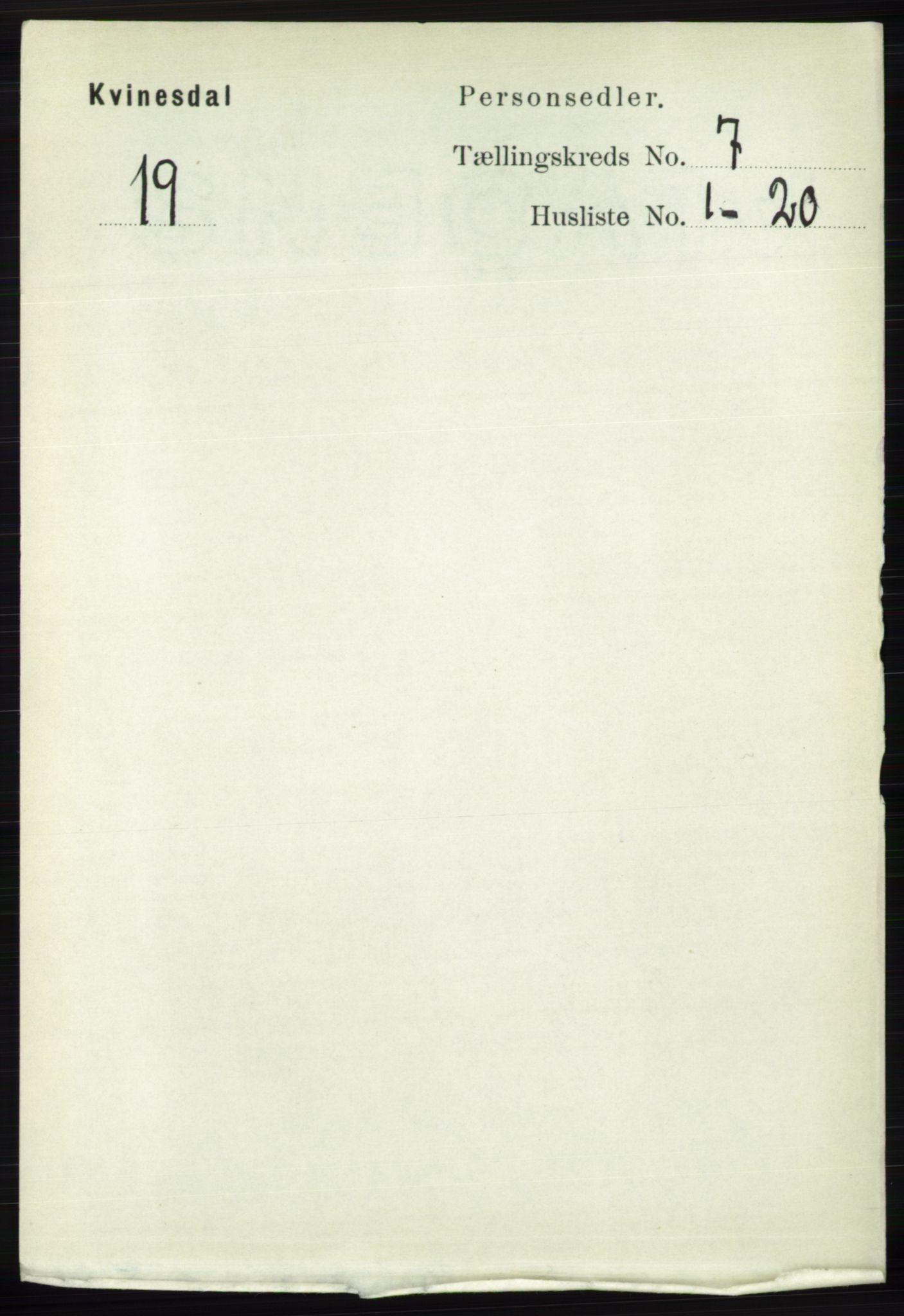 RA, Folketelling 1891 for 1037 Kvinesdal herred, 1891, s. 2420