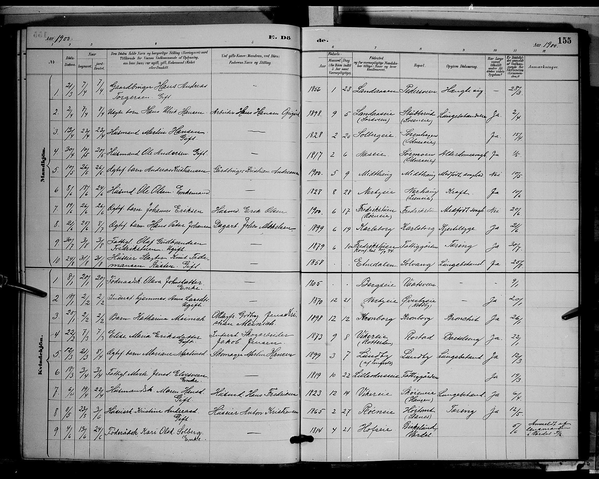 SAH, Søndre Land prestekontor, L/L0003: Klokkerbok nr. 3, 1884-1902, s. 155