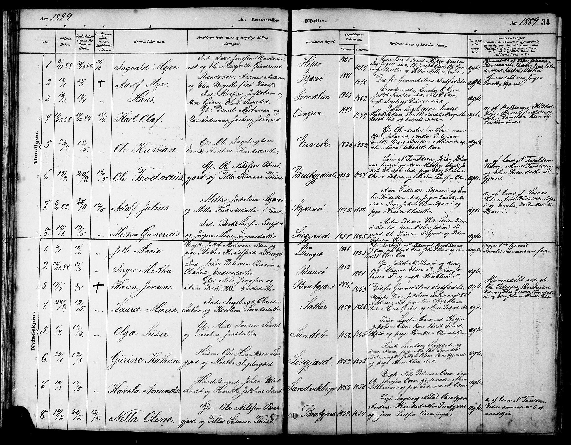 SAT, Ministerialprotokoller, klokkerbøker og fødselsregistre - Sør-Trøndelag, 658/L0726: Klokkerbok nr. 658C02, 1883-1908, s. 34