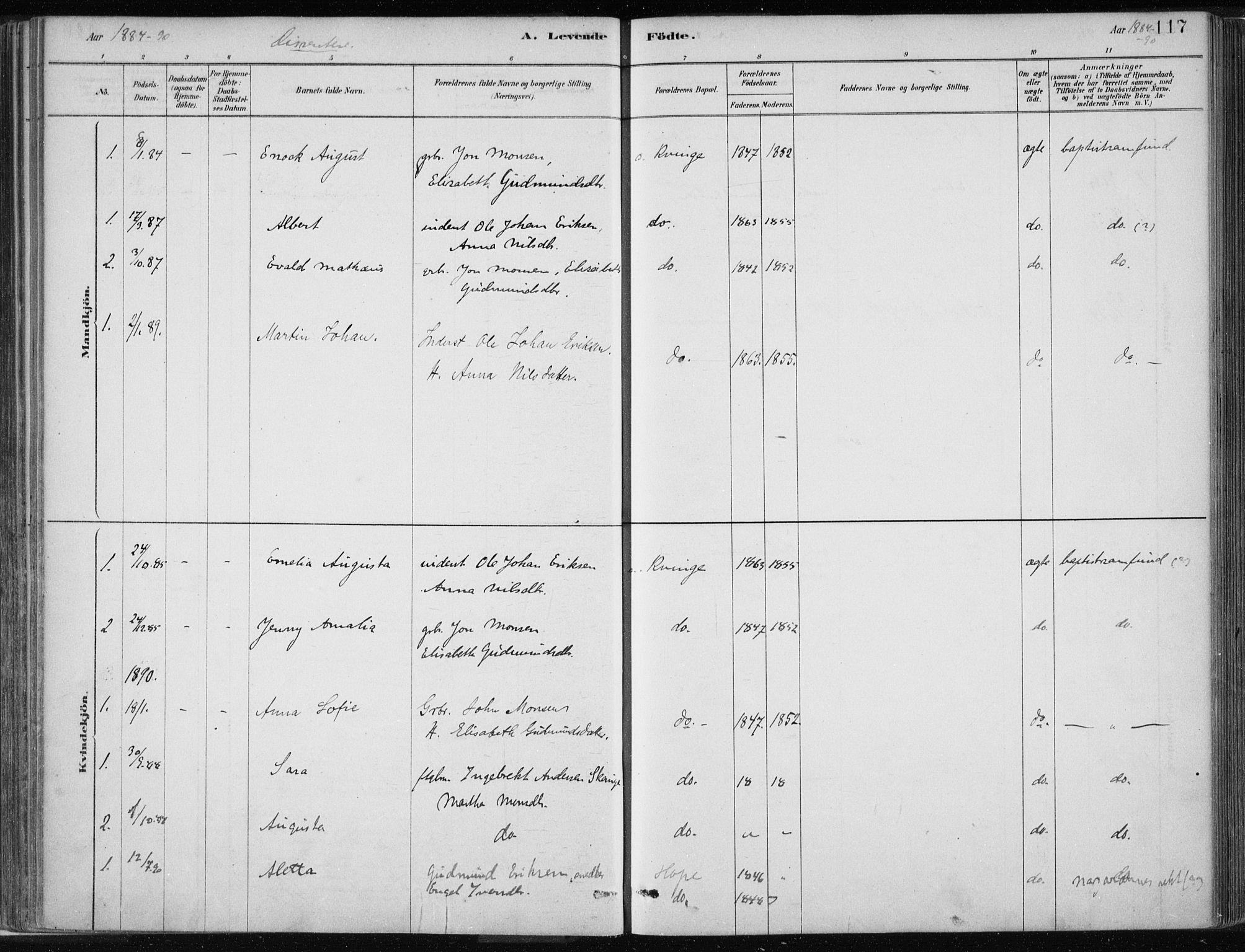 SAB, Masfjorden Soknepresembete, Ministerialbok nr. B  1, 1876-1899, s. 117