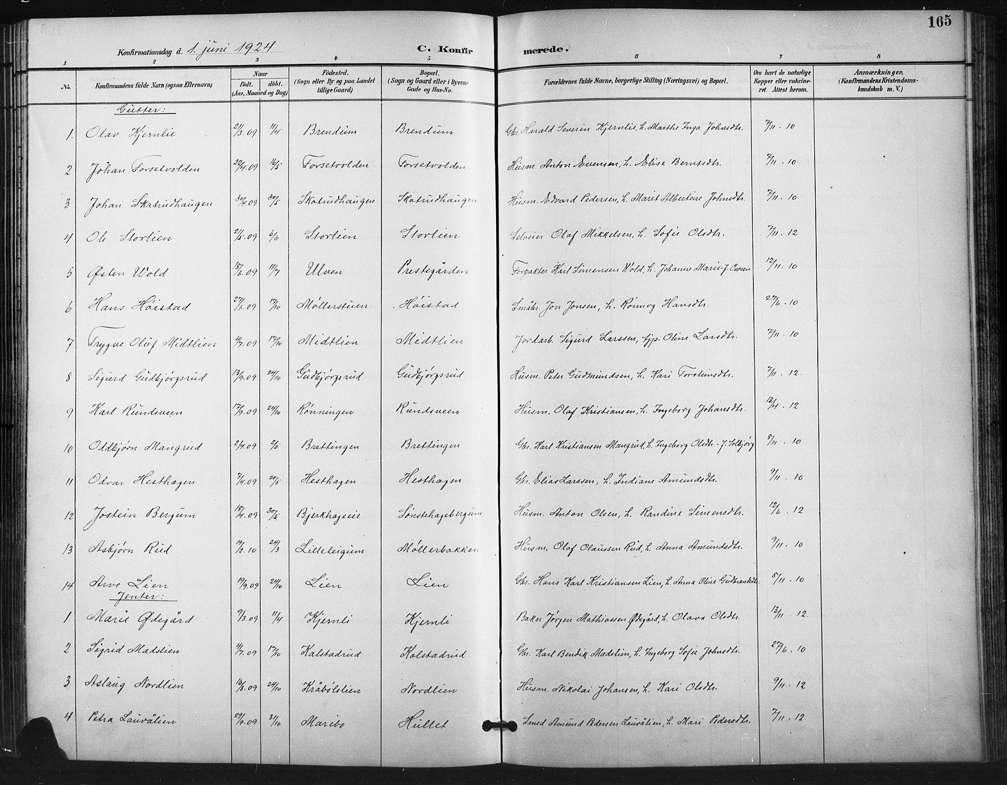 SAH, Vestre Gausdal prestekontor, Klokkerbok nr. 3, 1896-1925, s. 165
