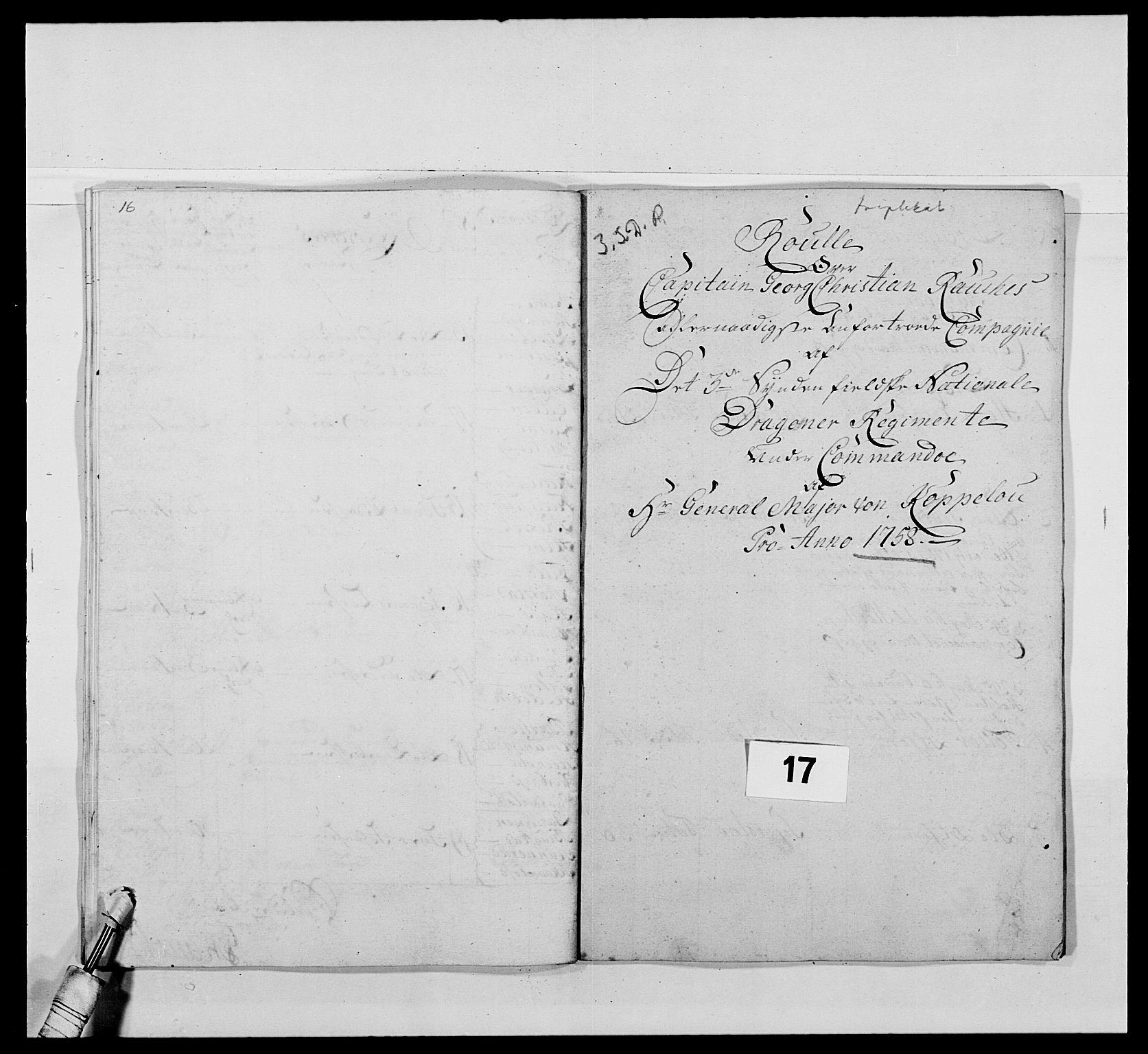 RA, Kommanderende general (KG I) med Det norske krigsdirektorium, E/Ea/L0479: 3. Sønnafjelske dragonregiment, 1756-1760, s. 320