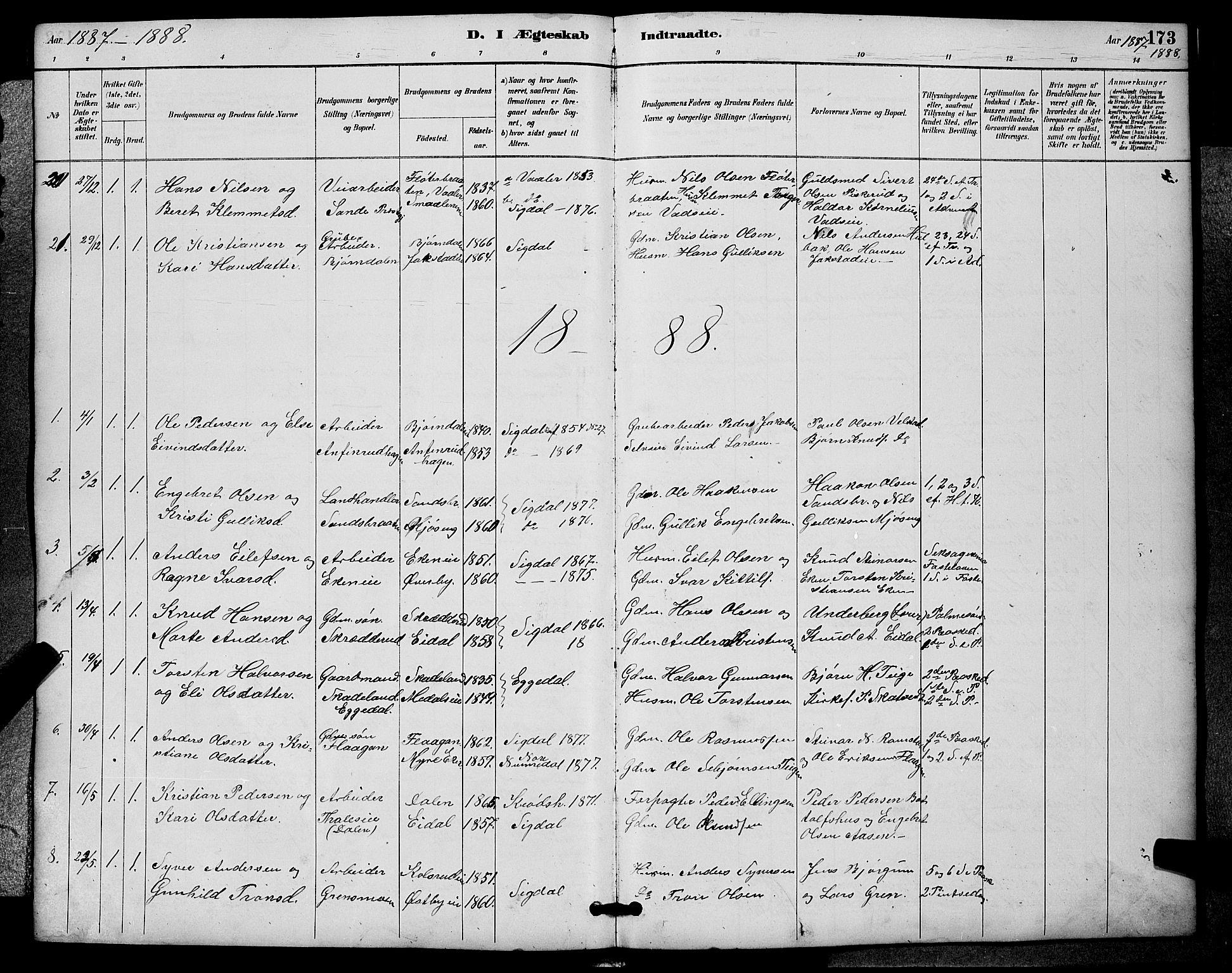 SAKO, Sigdal kirkebøker, G/Ga/L0005: Klokkerbok nr. I 5, 1886-1900, s. 173