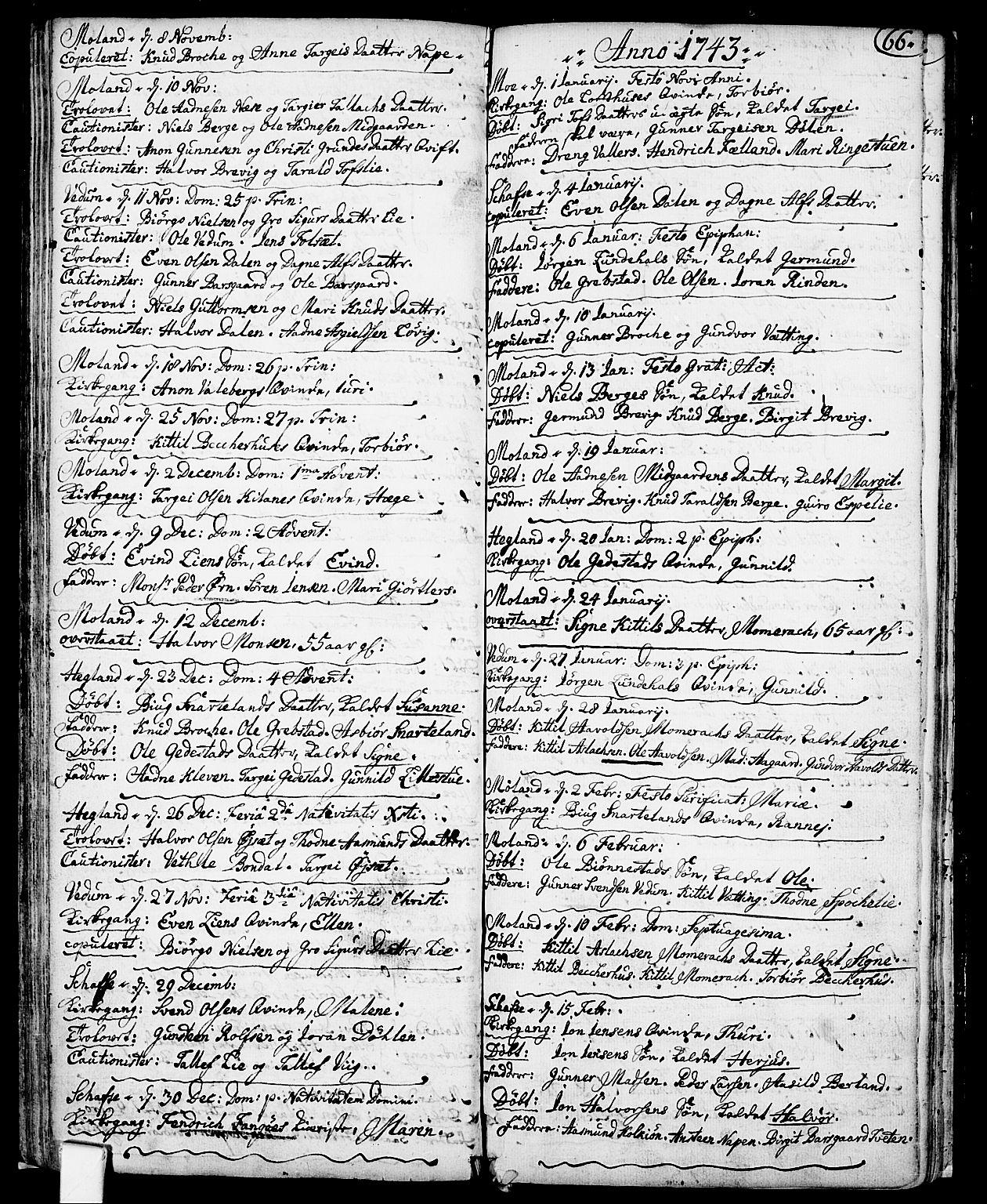 SAKO, Fyresdal kirkebøker, F/Fa/L0001: Ministerialbok nr. I 1, 1724-1748, s. 66