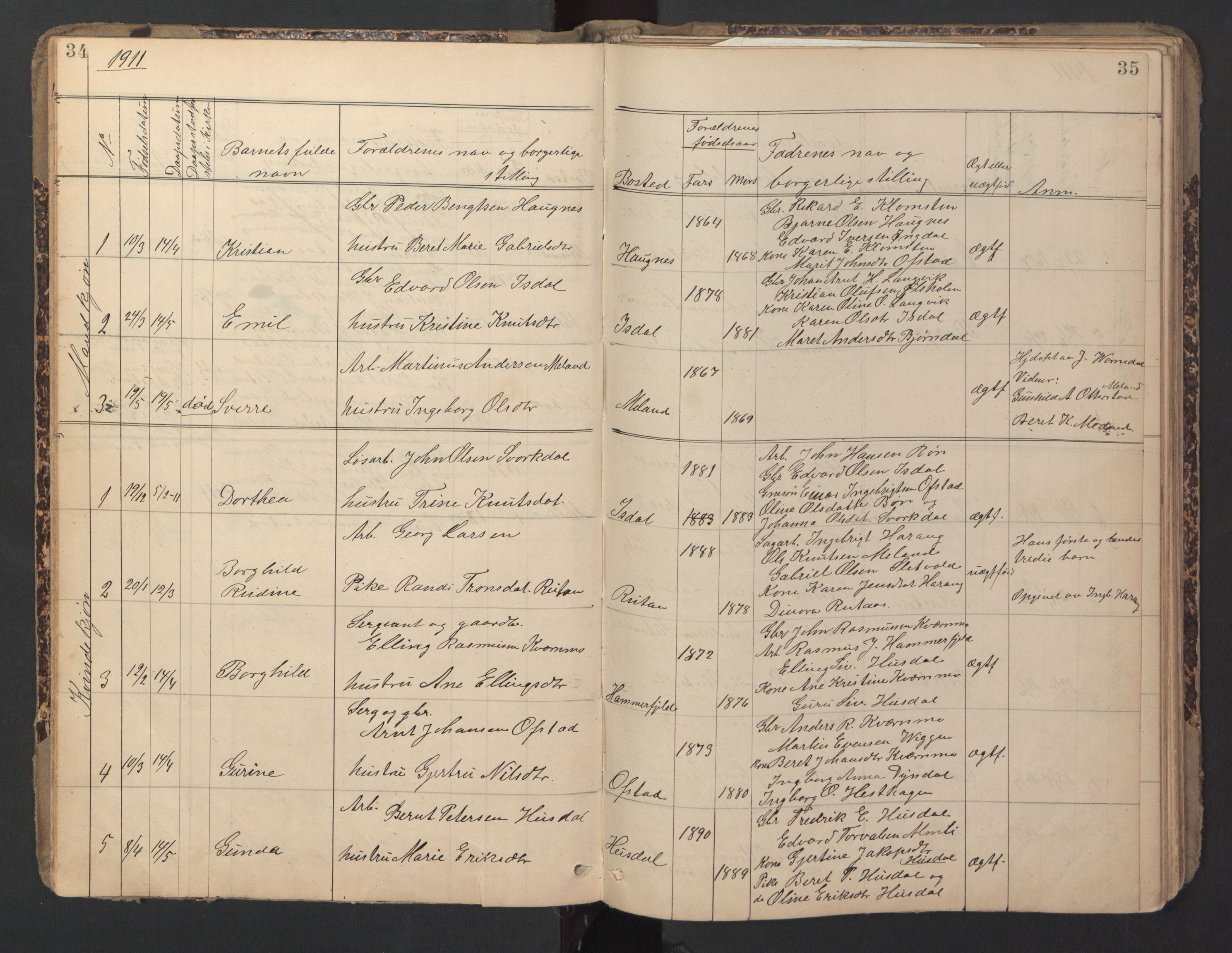 SAT, Ministerialprotokoller, klokkerbøker og fødselsregistre - Sør-Trøndelag, 670/L0837: Klokkerbok nr. 670C01, 1905-1946, s. 34-35