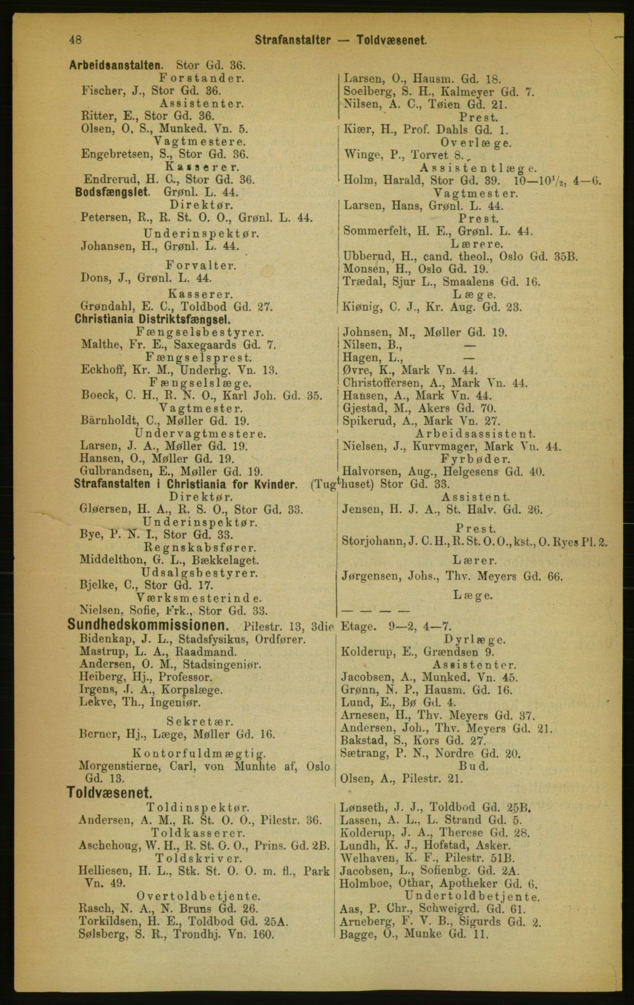 RA, Kristiania adressebok (publikasjon)*, 1889, s. 48
