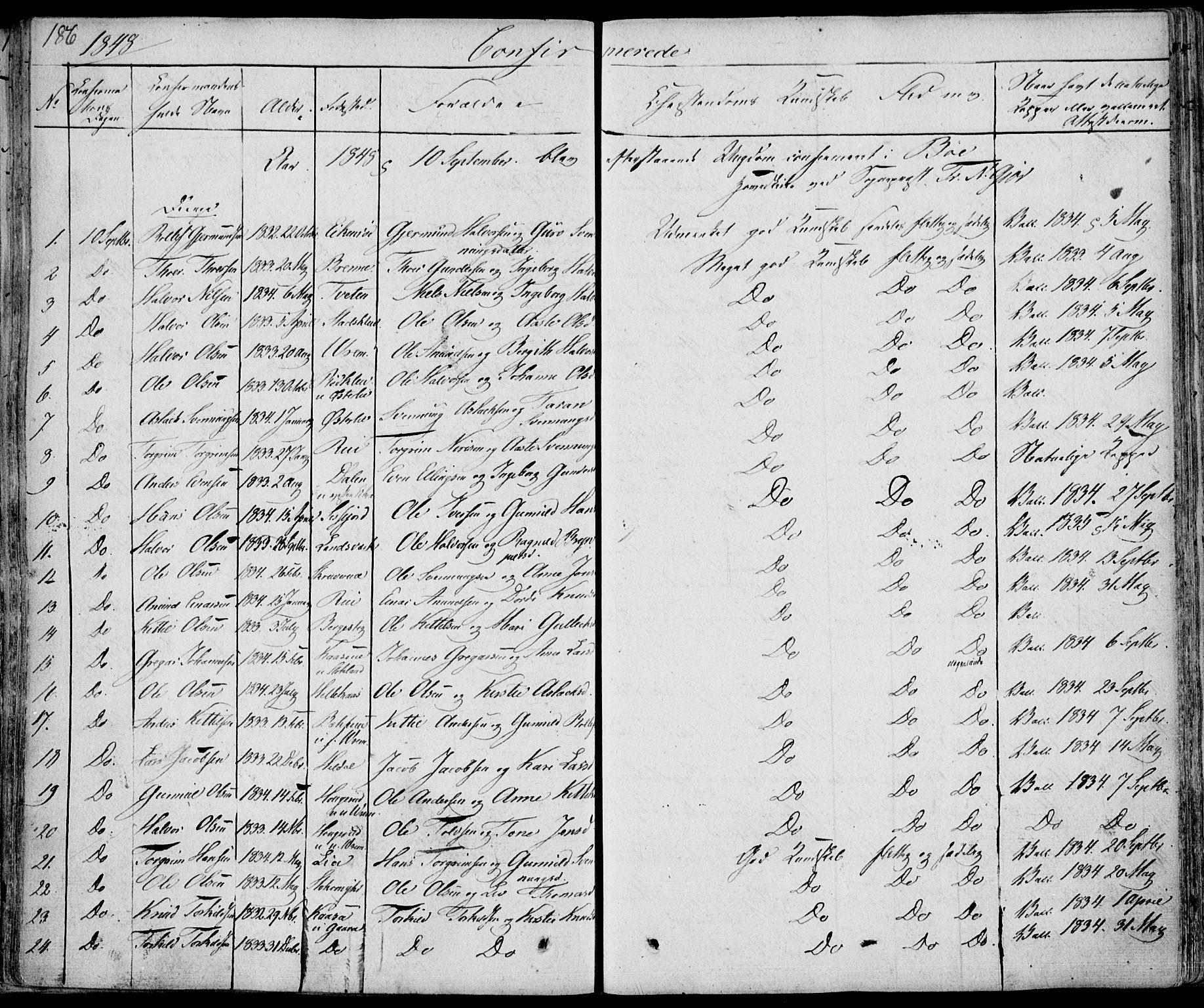 SAKO, Bø kirkebøker, F/Fa/L0007: Ministerialbok nr. 7, 1831-1848, s. 186