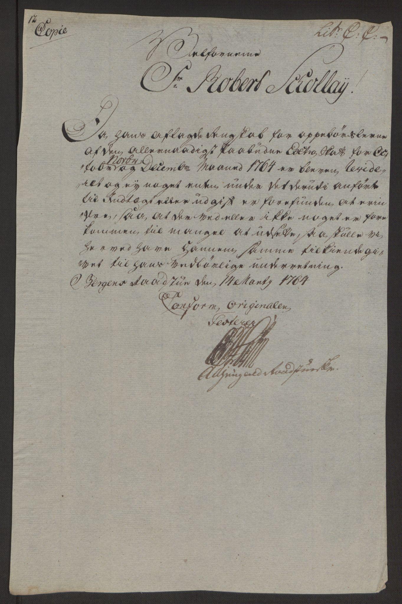 RA, Rentekammeret inntil 1814, Reviderte regnskaper, Byregnskaper, R/Rp/L0367: [P21] Kontribusjonsregnskap, 1764, s. 164