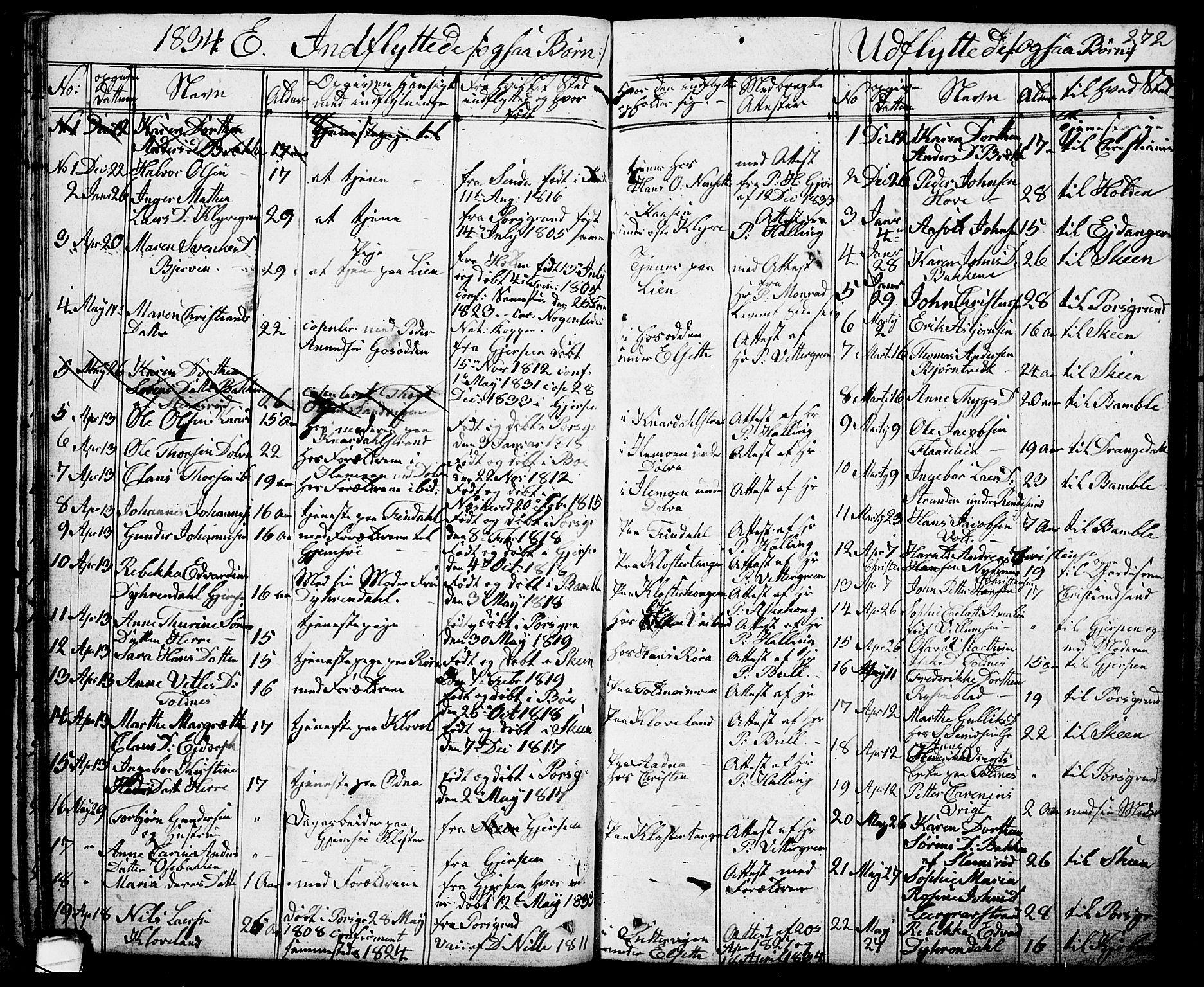 SAKO, Solum kirkebøker, G/Ga/L0002: Klokkerbok nr. I 2, 1834-1848, s. 272