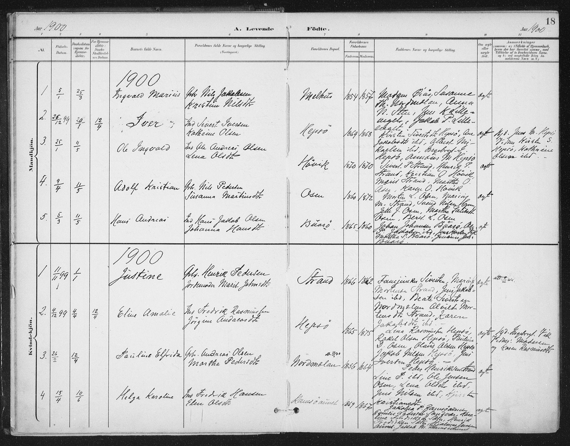 SAT, Ministerialprotokoller, klokkerbøker og fødselsregistre - Sør-Trøndelag, 658/L0723: Ministerialbok nr. 658A02, 1897-1912, s. 18