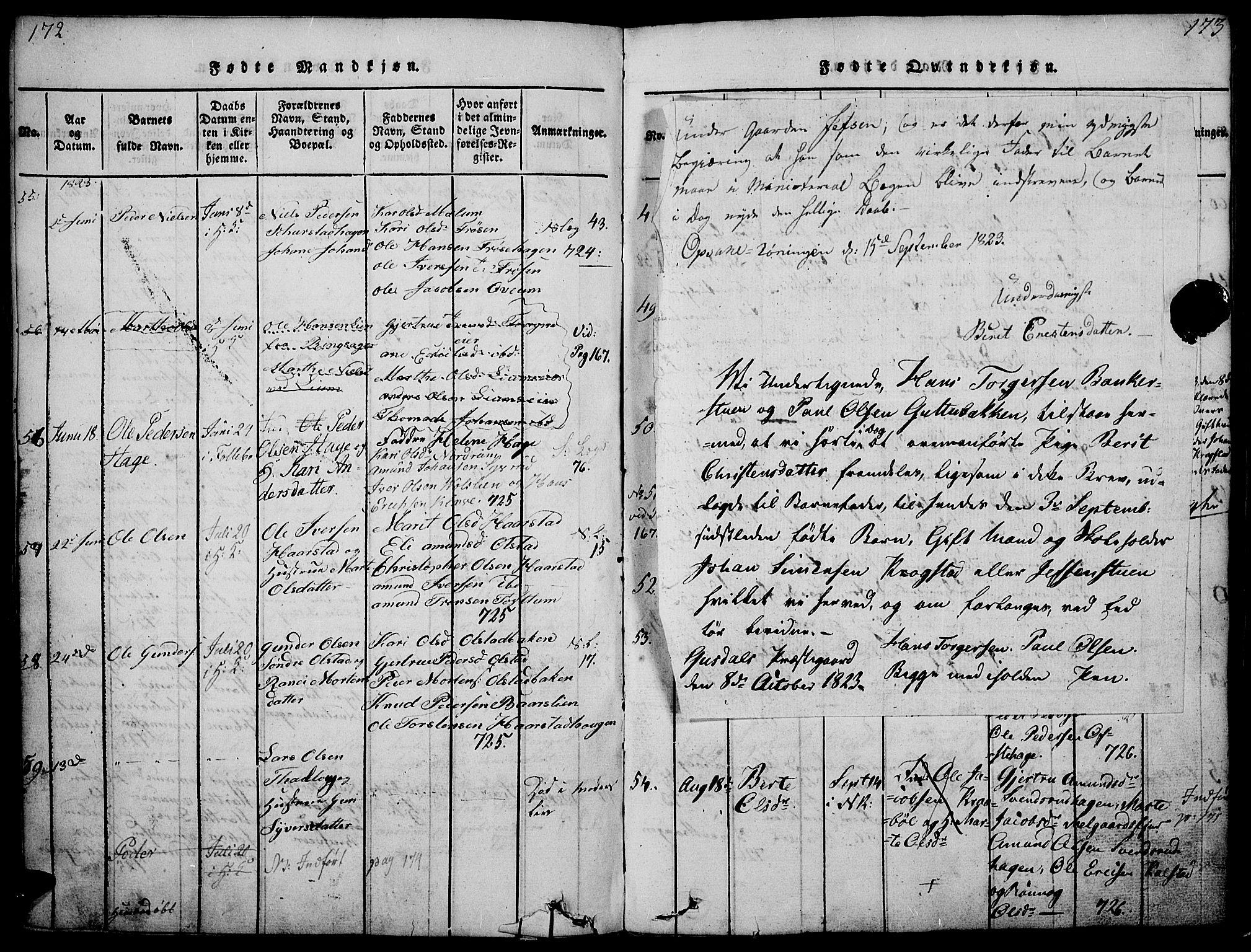 SAH, Gausdal prestekontor, Ministerialbok nr. 5, 1817-1829, s. 172-173