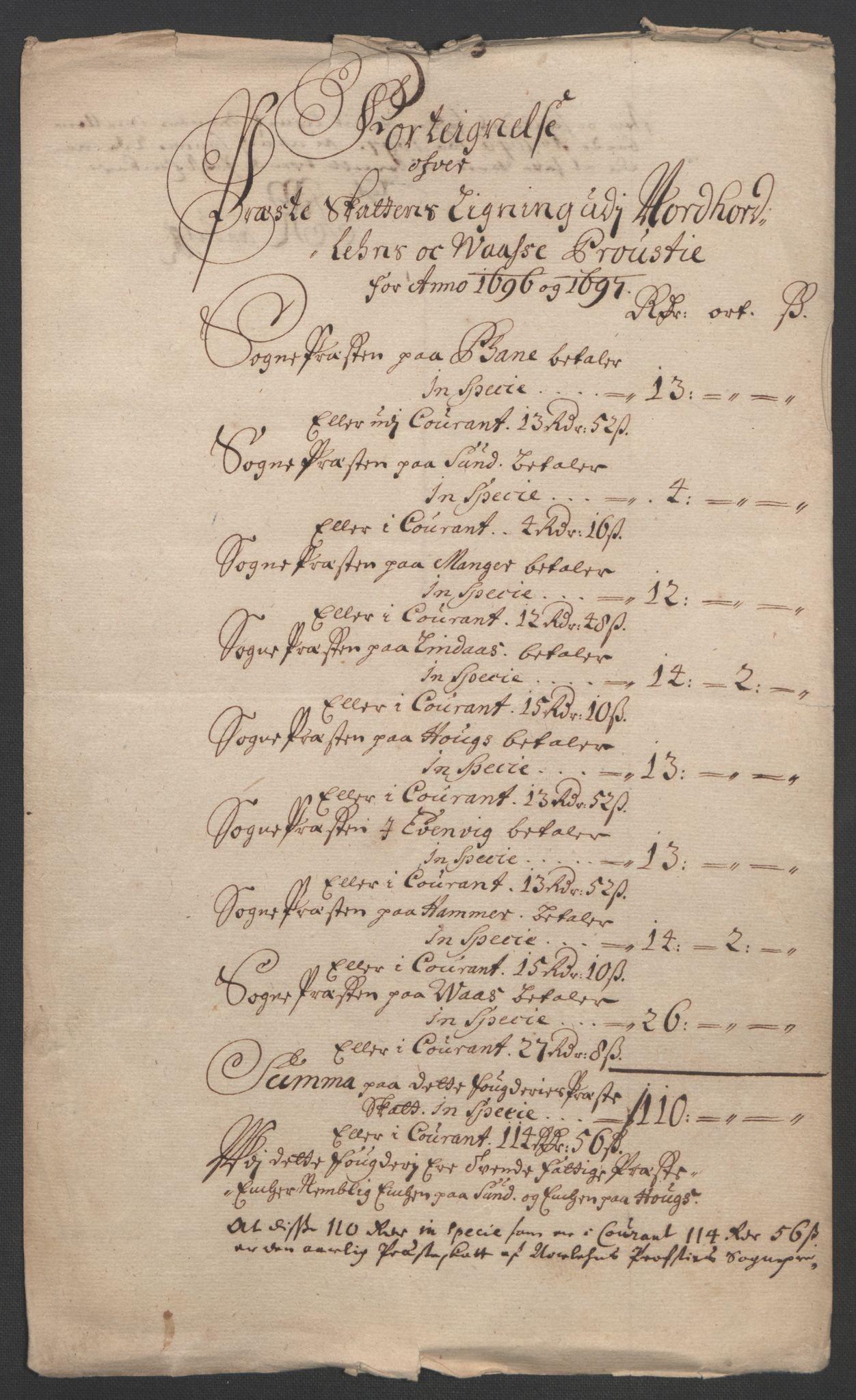 RA, Rentekammeret inntil 1814, Reviderte regnskaper, Fogderegnskap, R51/L3183: Fogderegnskap Nordhordland og Voss, 1695-1697, s. 431