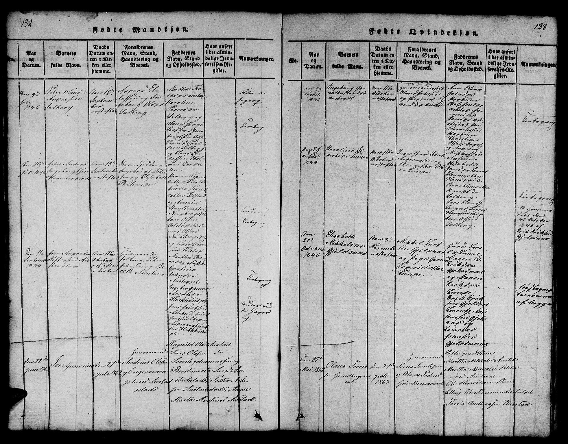 SAT, Ministerialprotokoller, klokkerbøker og fødselsregistre - Nord-Trøndelag, 731/L0310: Klokkerbok nr. 731C01, 1816-1874, s. 132-133