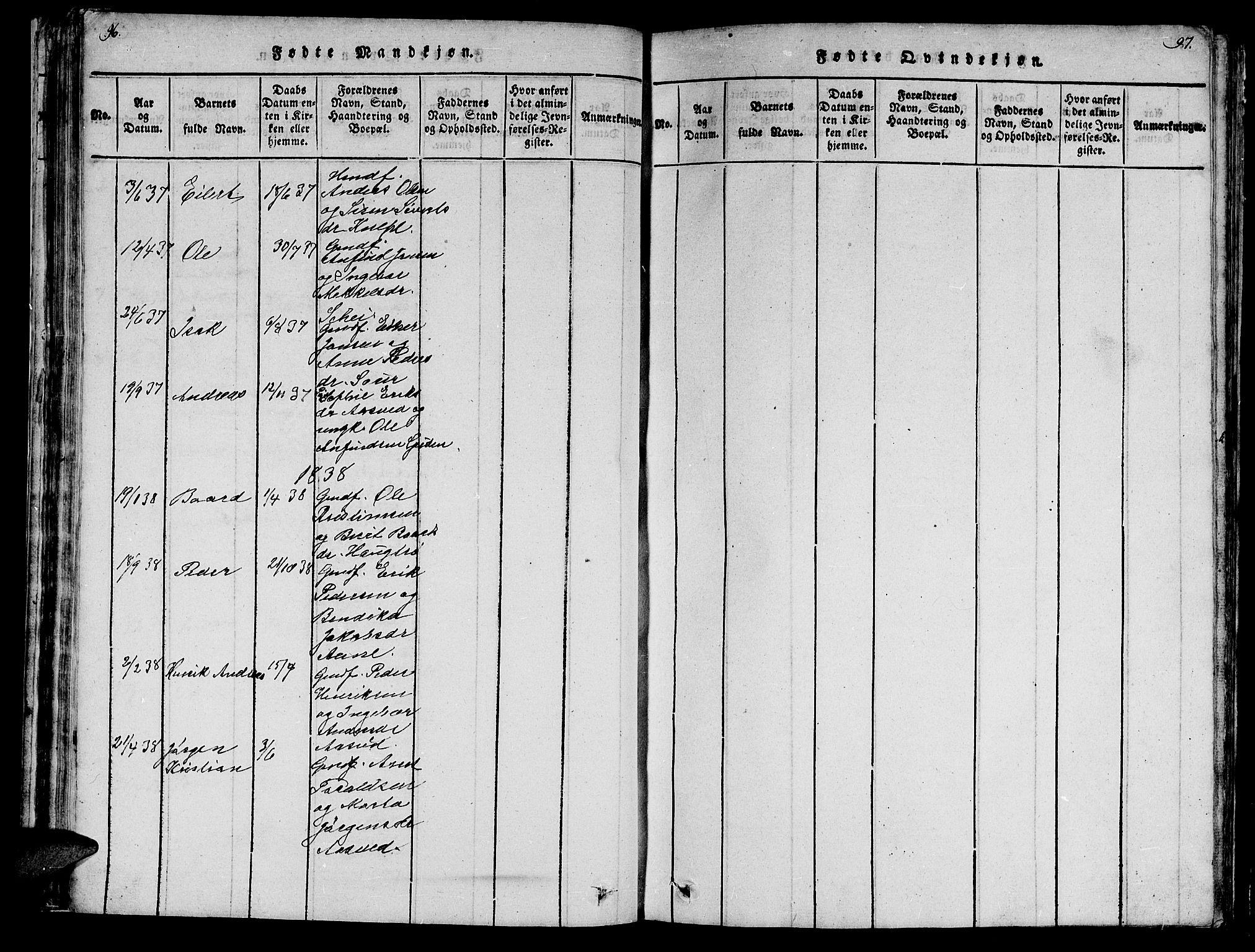 SAT, Ministerialprotokoller, klokkerbøker og fødselsregistre - Nord-Trøndelag, 747/L0459: Klokkerbok nr. 747C01, 1816-1842, s. 96-97