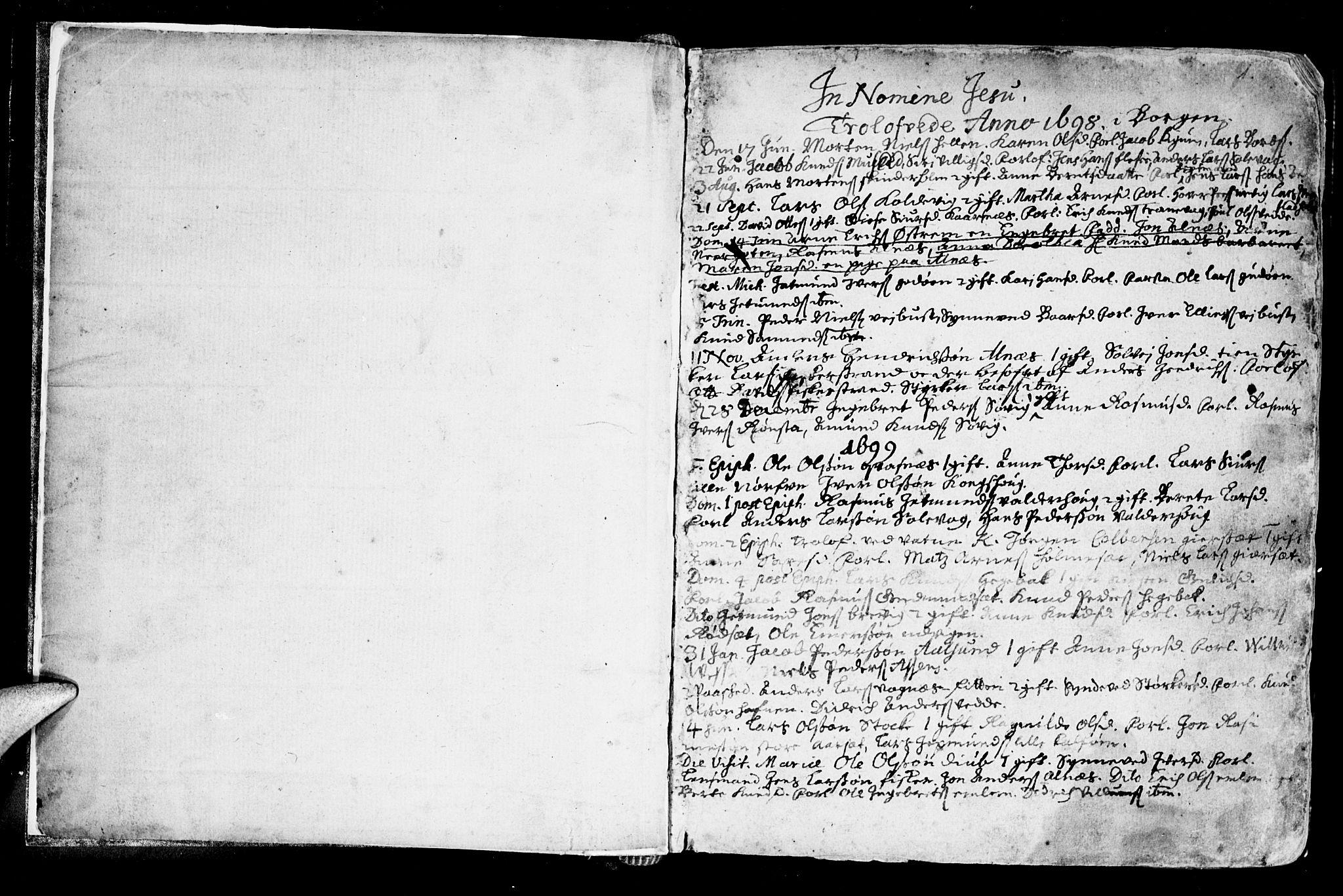 SAT, Ministerialprotokoller, klokkerbøker og fødselsregistre - Møre og Romsdal, 528/L0390: Ministerialbok nr. 528A01, 1698-1739, s. 0-1