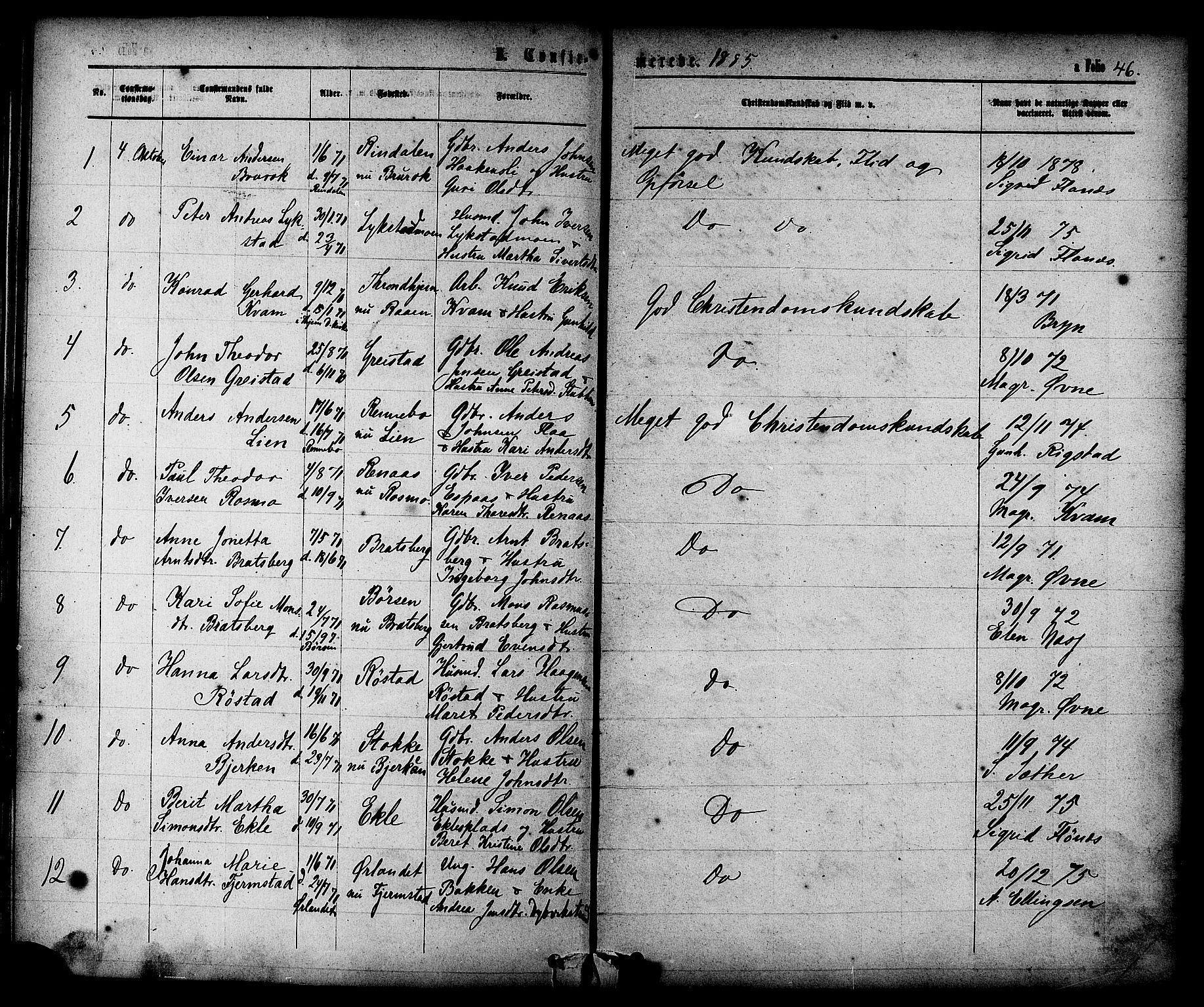 SAT, Ministerialprotokoller, klokkerbøker og fødselsregistre - Sør-Trøndelag, 608/L0334: Ministerialbok nr. 608A03, 1877-1886, s. 46
