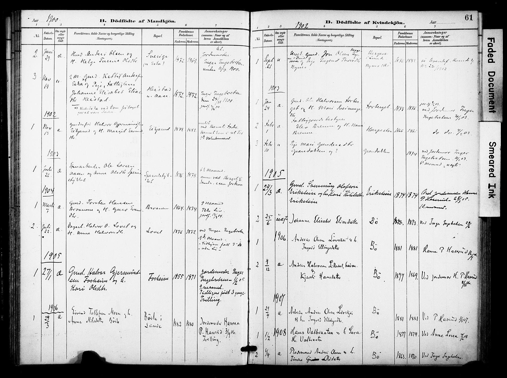 SAKO, Bø kirkebøker, F/Fa/L0012: Ministerialbok nr. 12, 1900-1908, s. 61