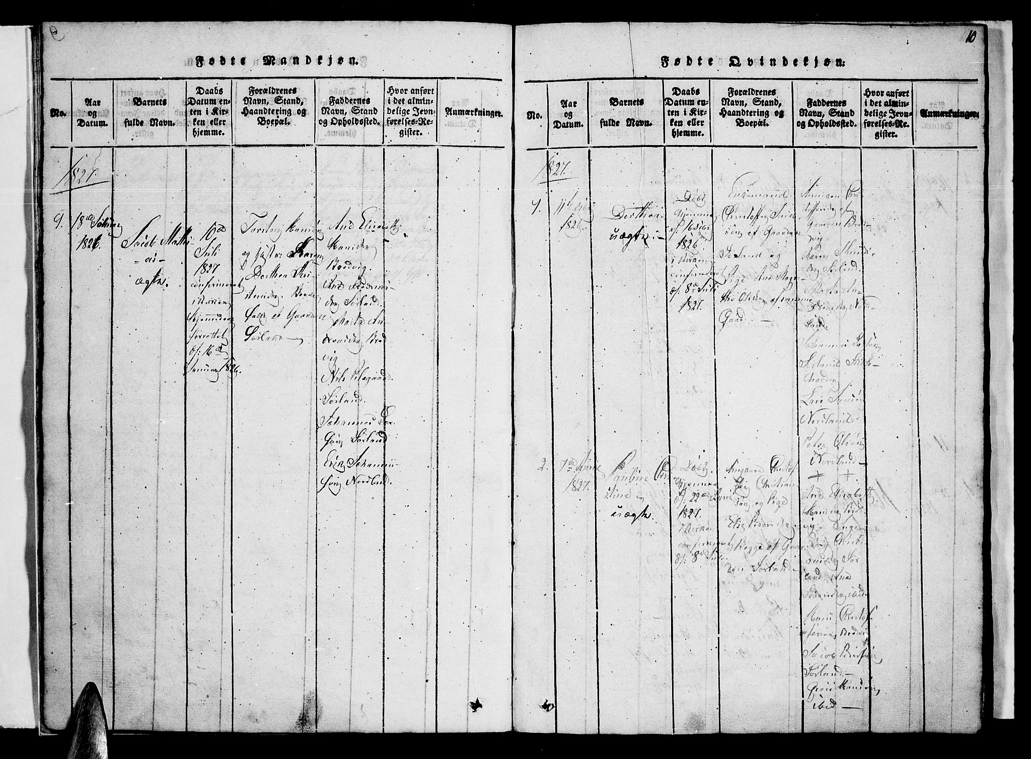 SAT, Ministerialprotokoller, klokkerbøker og fødselsregistre - Nordland, 807/L0120: Ministerialbok nr. 807A03, 1821-1848, s. 10
