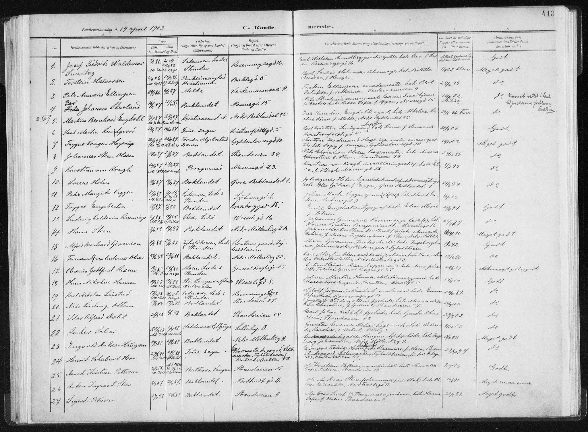 SAT, Ministerialprotokoller, klokkerbøker og fødselsregistre - Sør-Trøndelag, 604/L0200: Ministerialbok nr. 604A20II, 1901-1908, s. 413