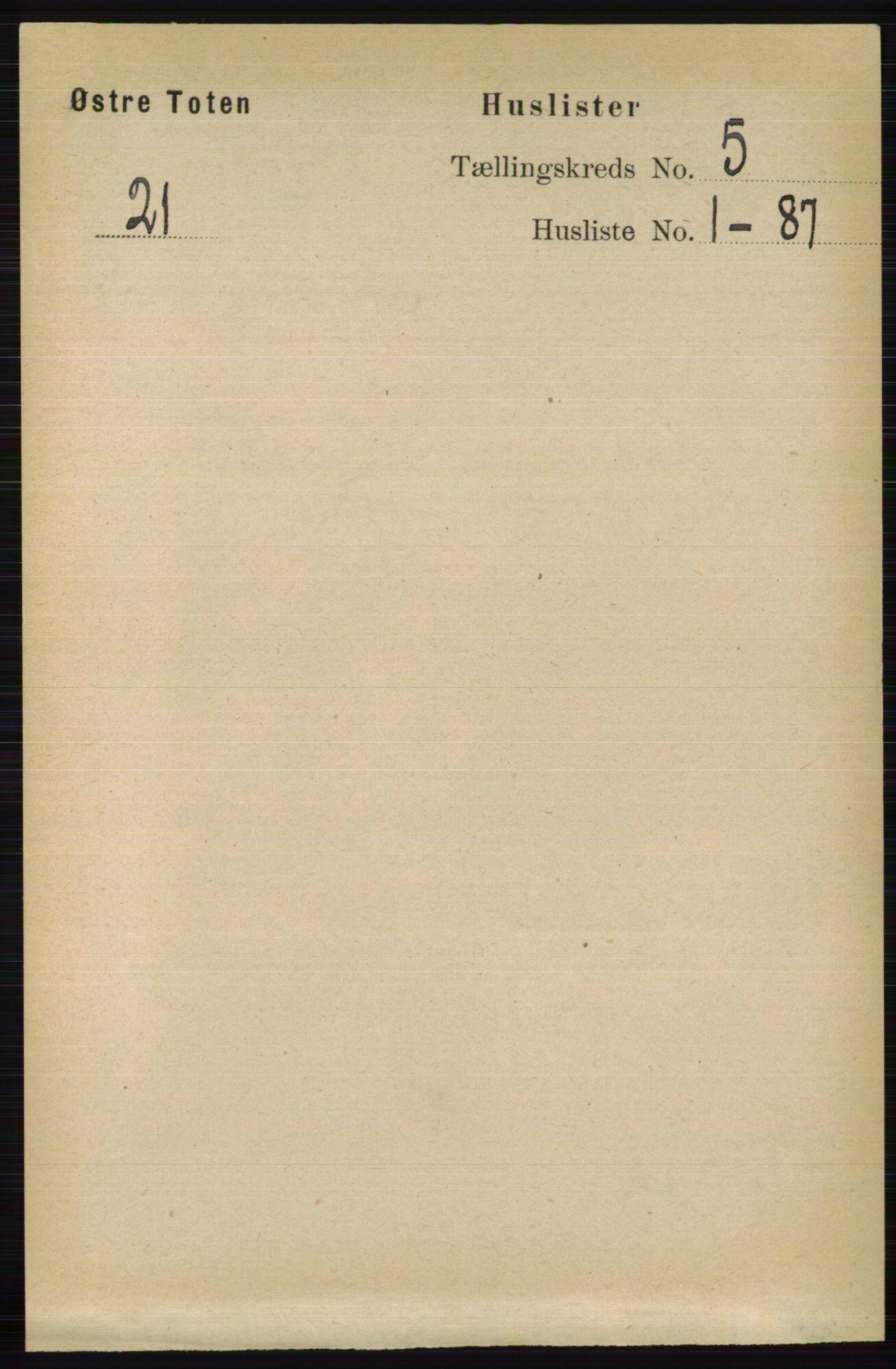 RA, Folketelling 1891 for 0528 Østre Toten herred, 1891, s. 3087