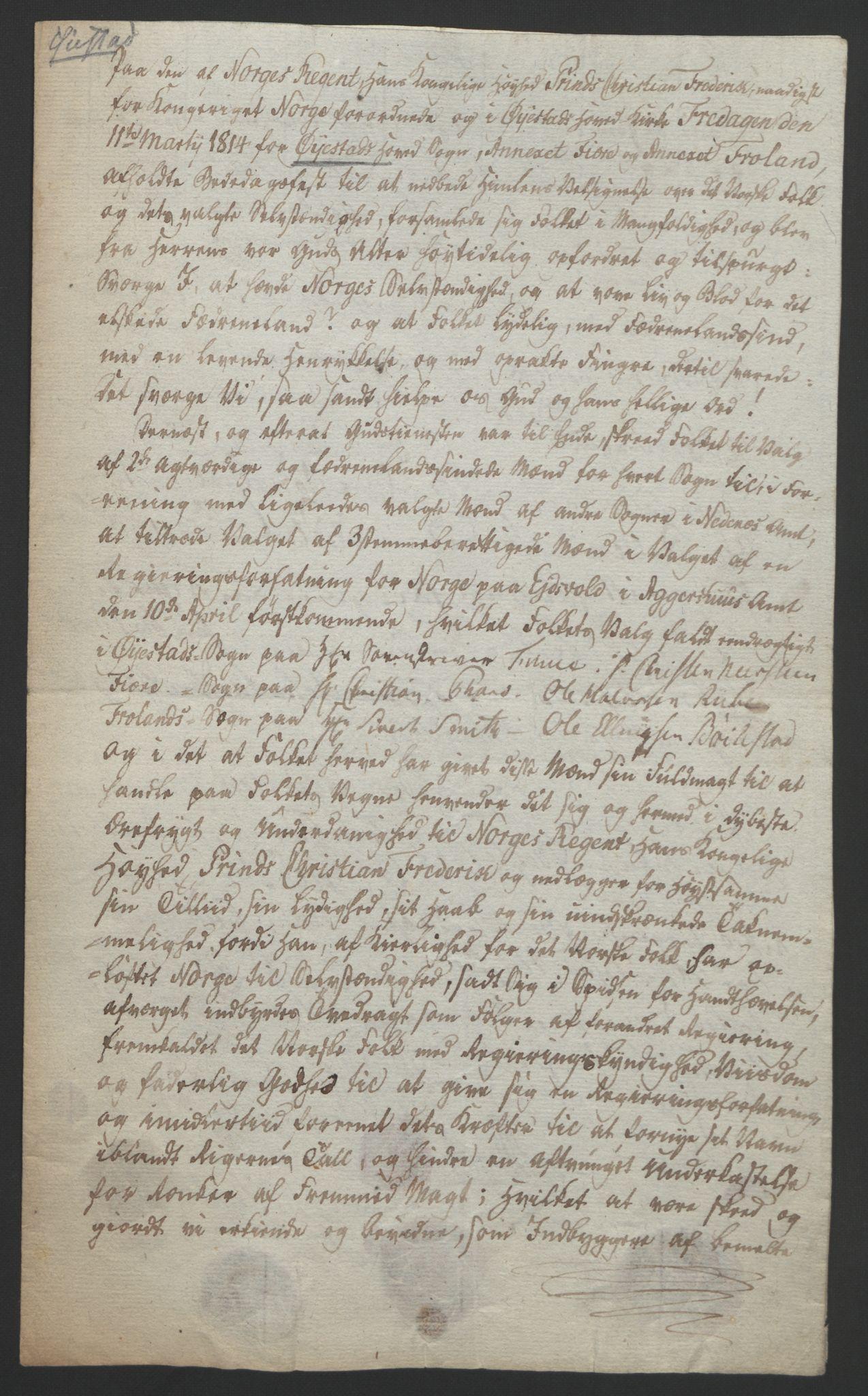 RA, Statsrådssekretariatet, D/Db/L0008: Fullmakter for Eidsvollsrepresentantene i 1814. , 1814, s. 99