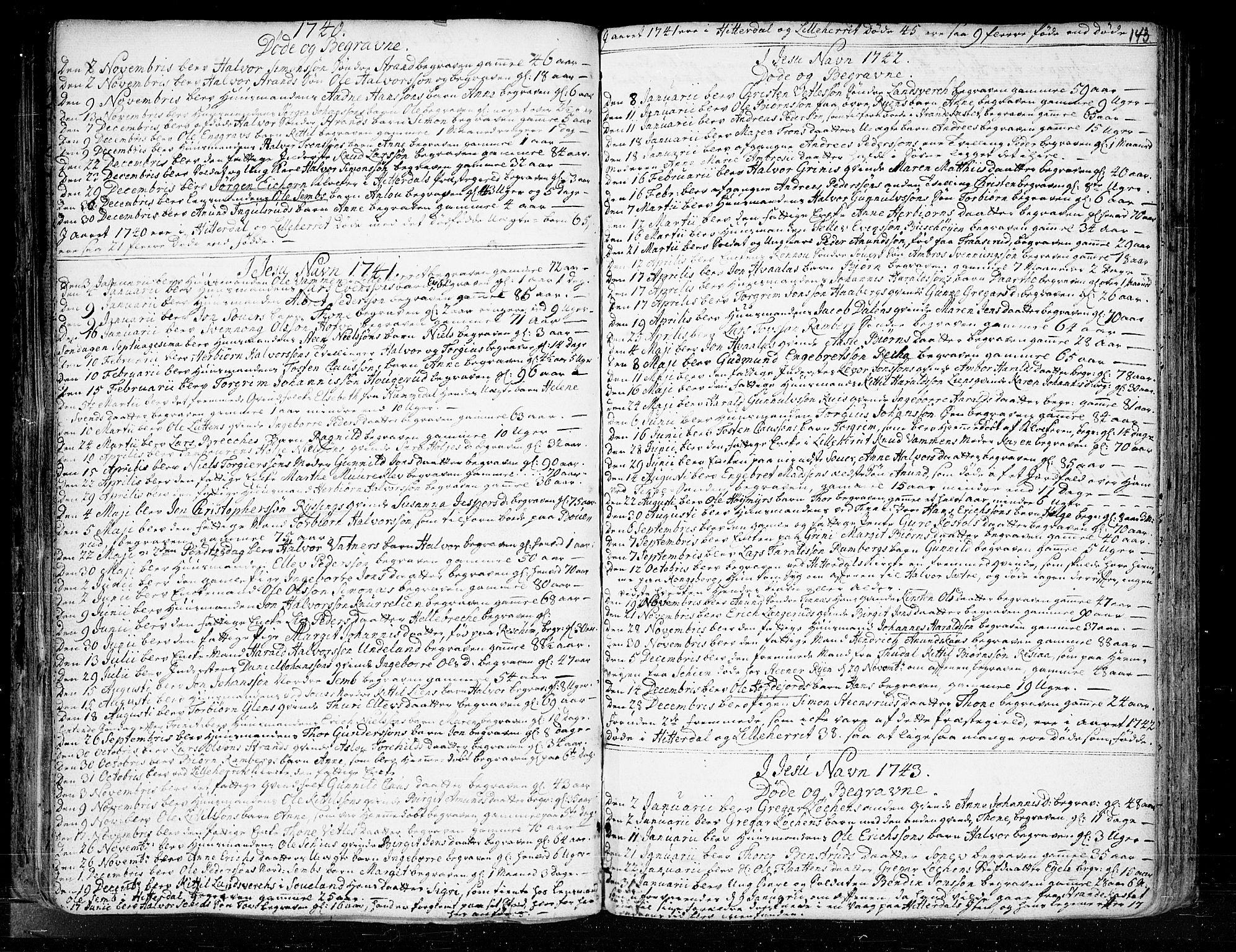 SAKO, Heddal kirkebøker, F/Fa/L0003: Ministerialbok nr. I 3, 1723-1783, s. 143