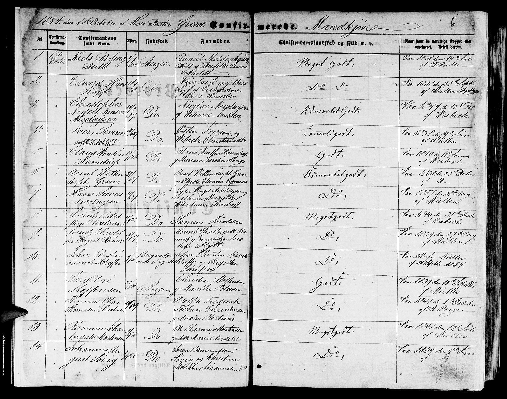 SAB, Domkirken Sokneprestembete, H/Hab/L0023: Klokkerbok nr. C 3, 1854-1880, s. 6