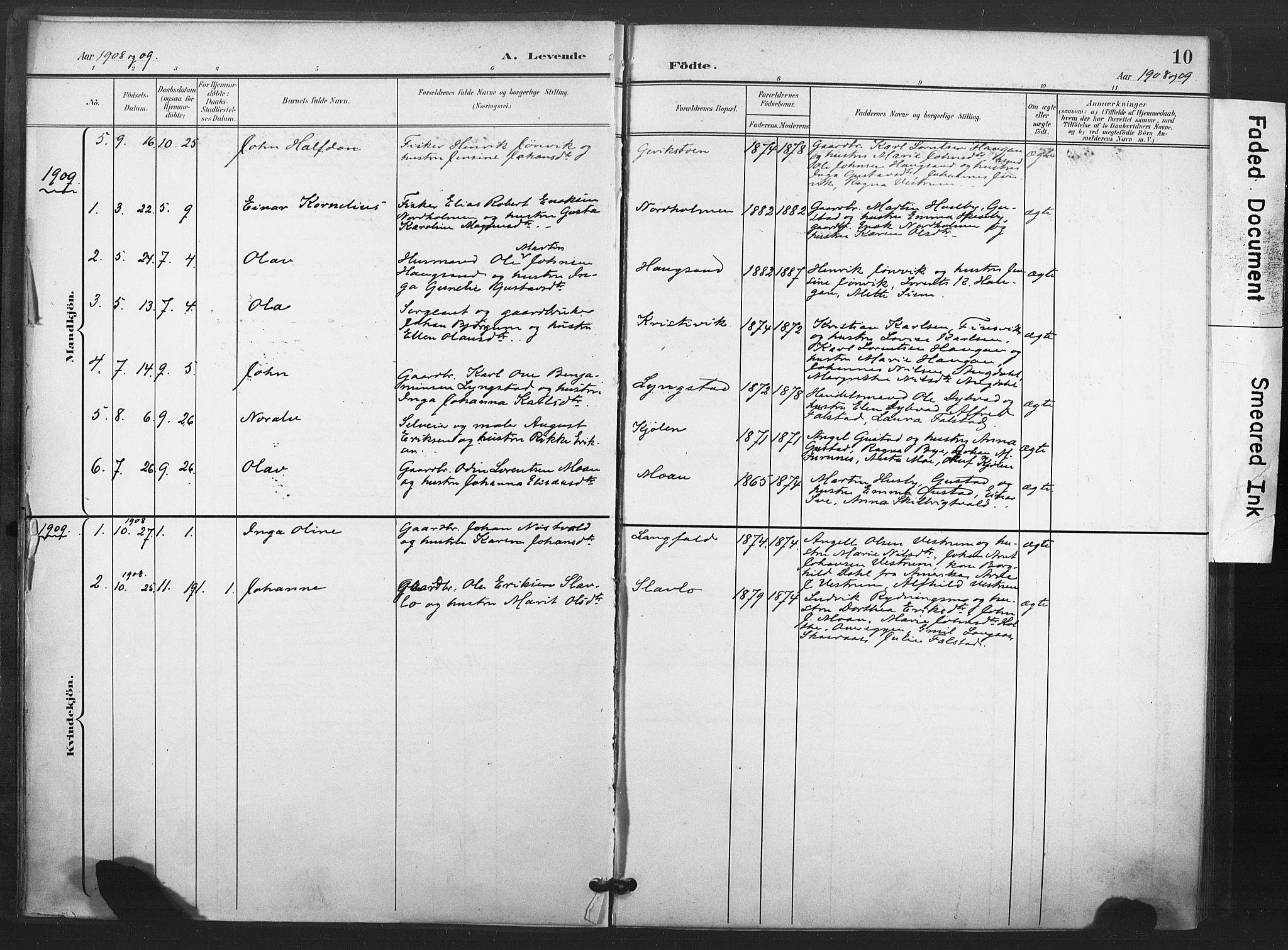 SAT, Ministerialprotokoller, klokkerbøker og fødselsregistre - Nord-Trøndelag, 719/L0179: Ministerialbok nr. 719A02, 1901-1923, s. 10