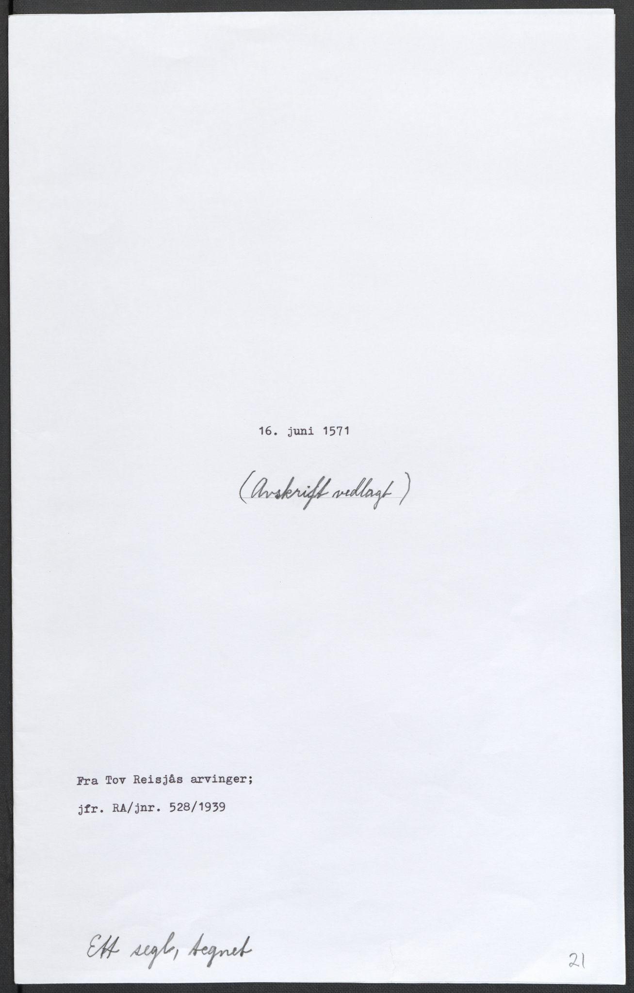 RA, Riksarkivets diplomsamling, F02/L0075: Dokumenter, 1570-1571, s. 59