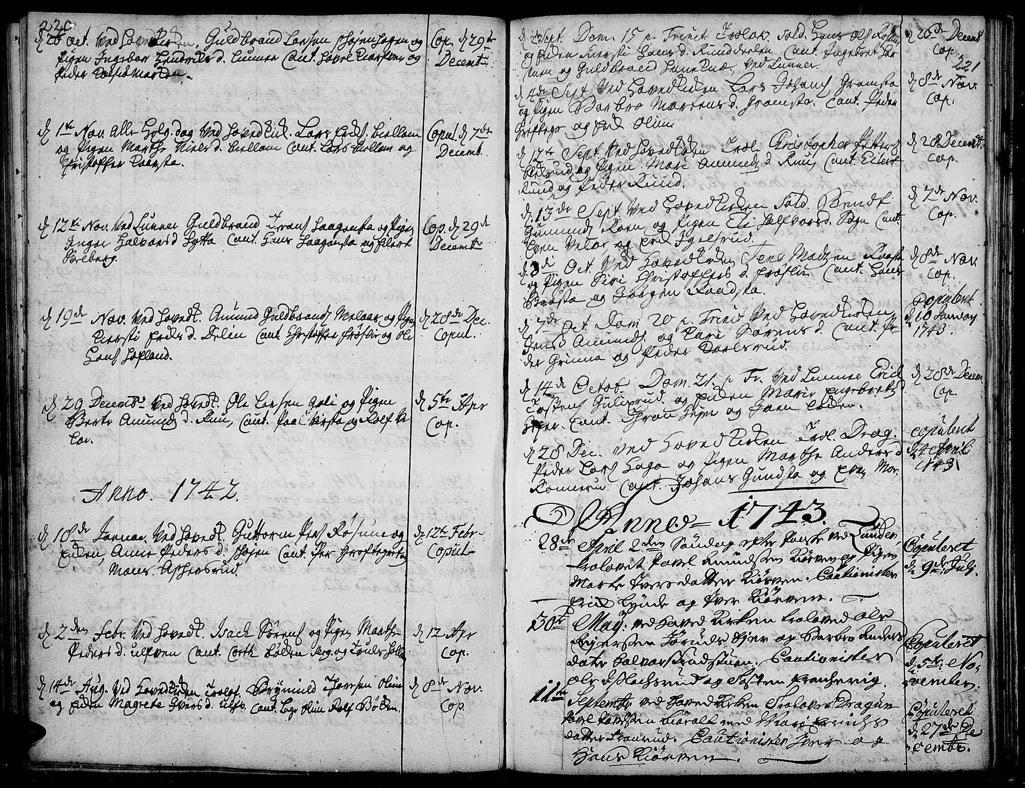 SAH, Jevnaker prestekontor, Ministerialbok nr. 2, 1725-1751, s. 220-221