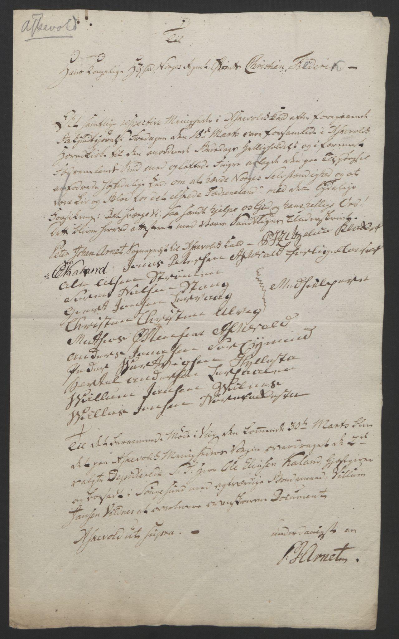 RA, Statsrådssekretariatet, D/Db/L0008: Fullmakter for Eidsvollsrepresentantene i 1814. , 1814, s. 310