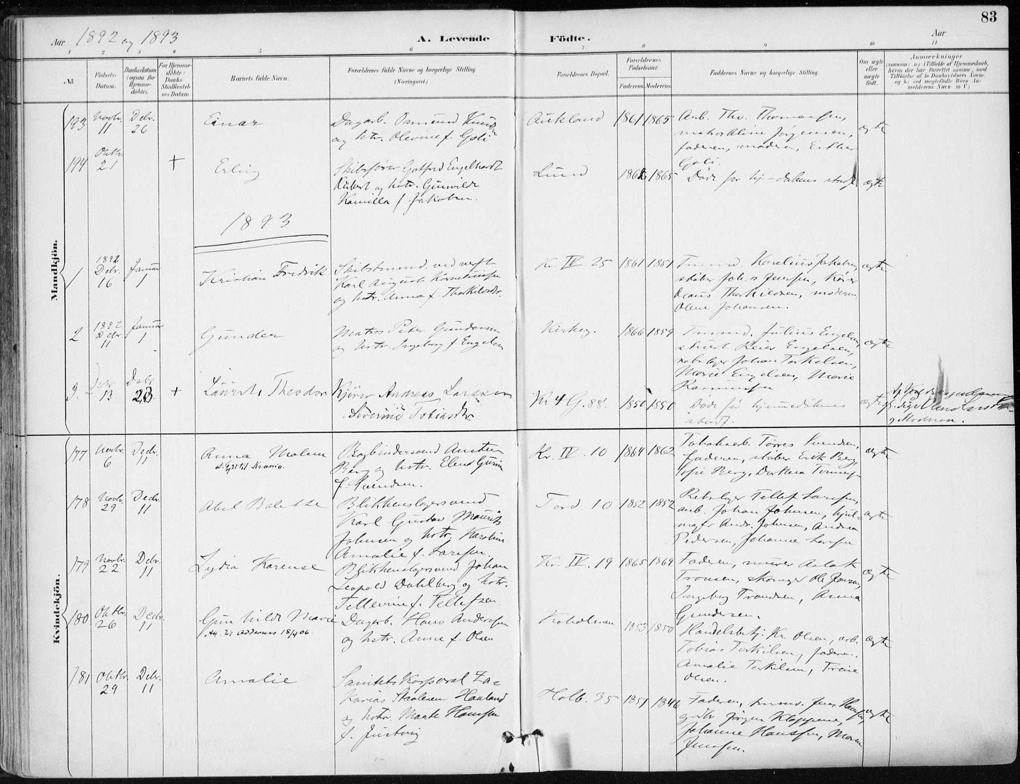 SAK, Kristiansand domprosti, F/Fa/L0019: Ministerialbok nr. A 18, 1890-1897, s. 83