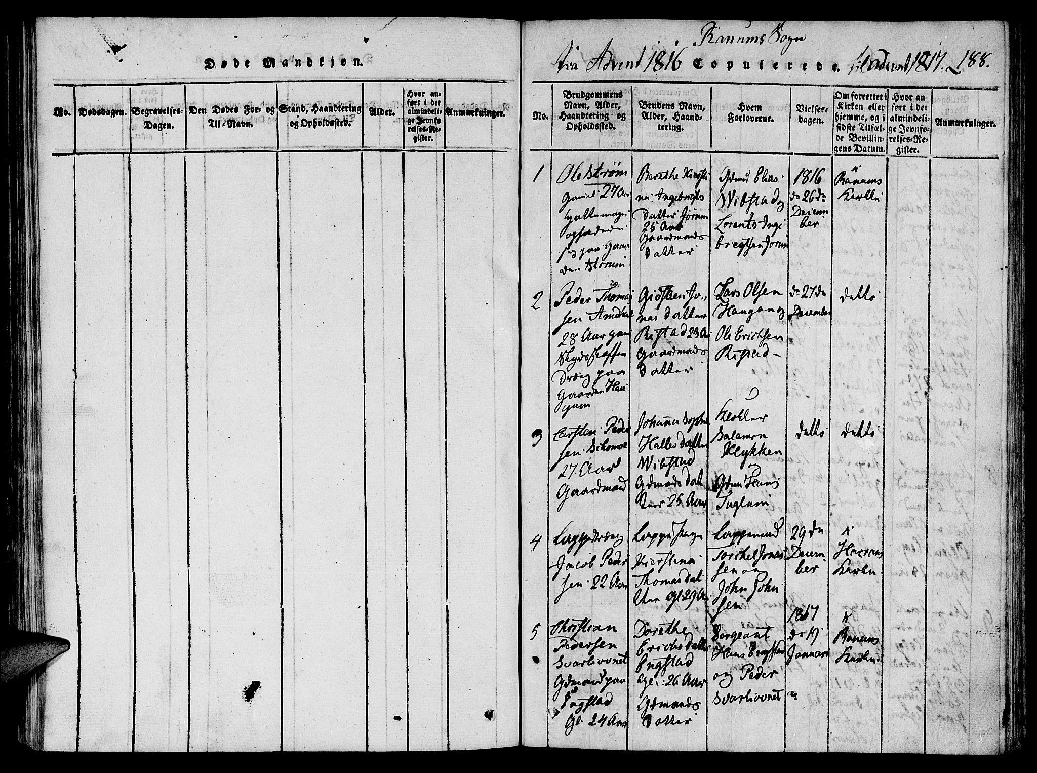 SAT, Ministerialprotokoller, klokkerbøker og fødselsregistre - Nord-Trøndelag, 764/L0546: Ministerialbok nr. 764A06 /1, 1816-1823, s. 188