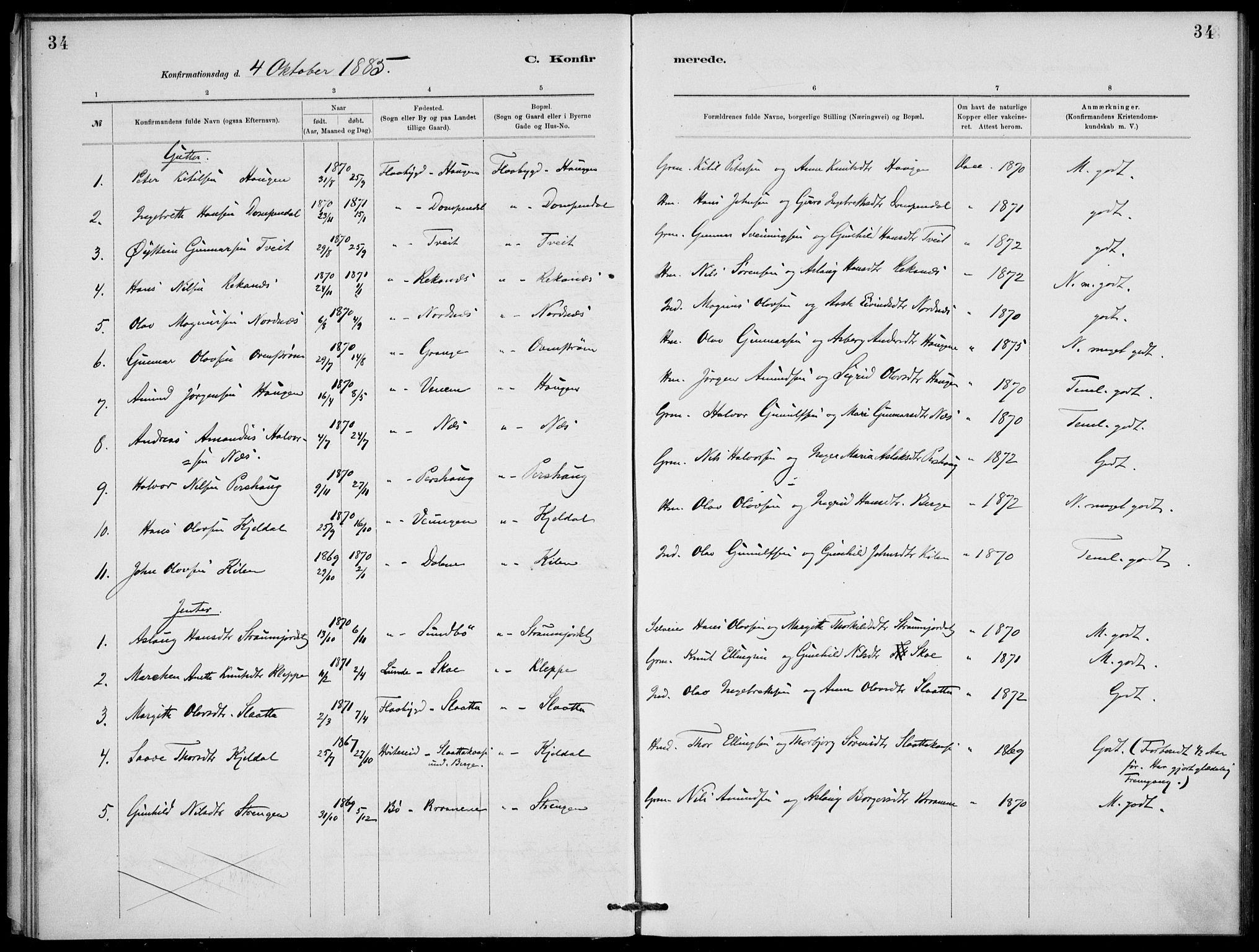 SAKO, Lunde kirkebøker, F/Fb/L0003: Ministerialbok nr. II 3, 1882-1891, s. 34